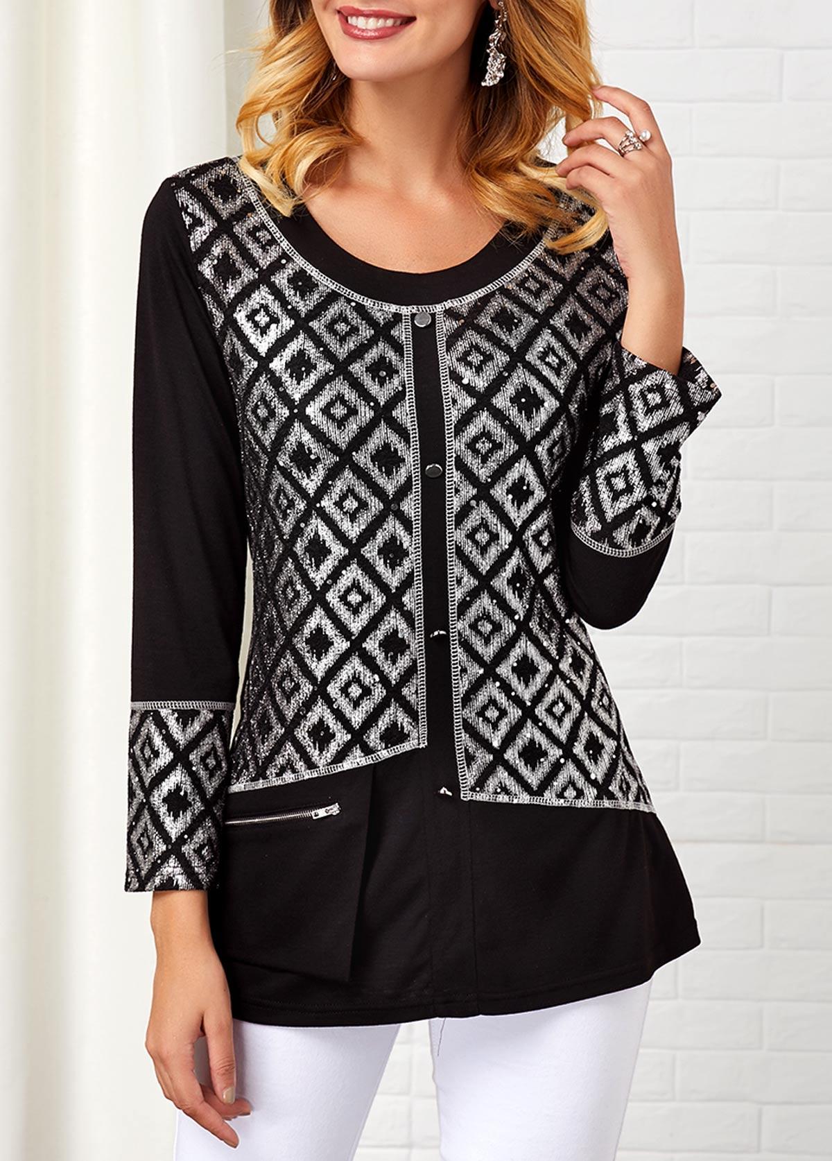 Round Neck Zipper Detail Geometric Print T Shirt