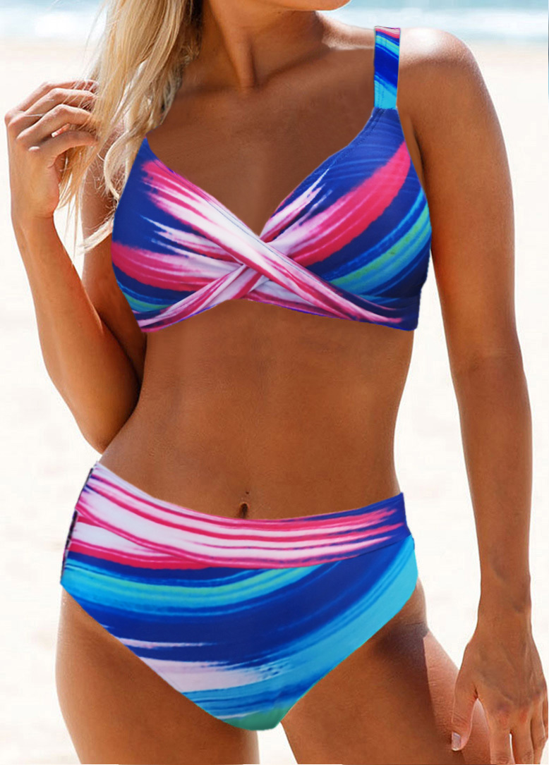 Cross Front Printed High Waist Bikini Set