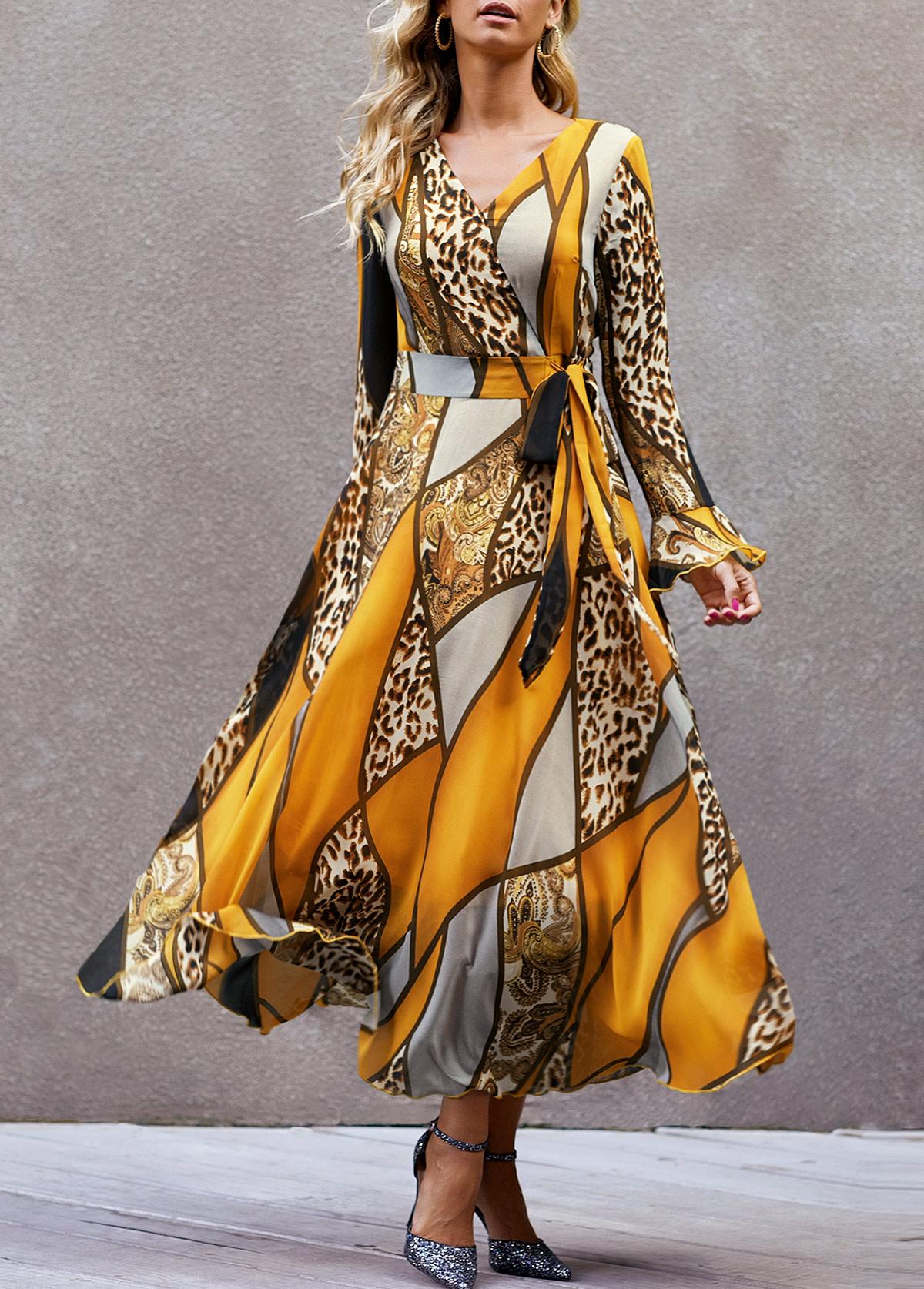 Leopard Print High Waist V Neck Dress