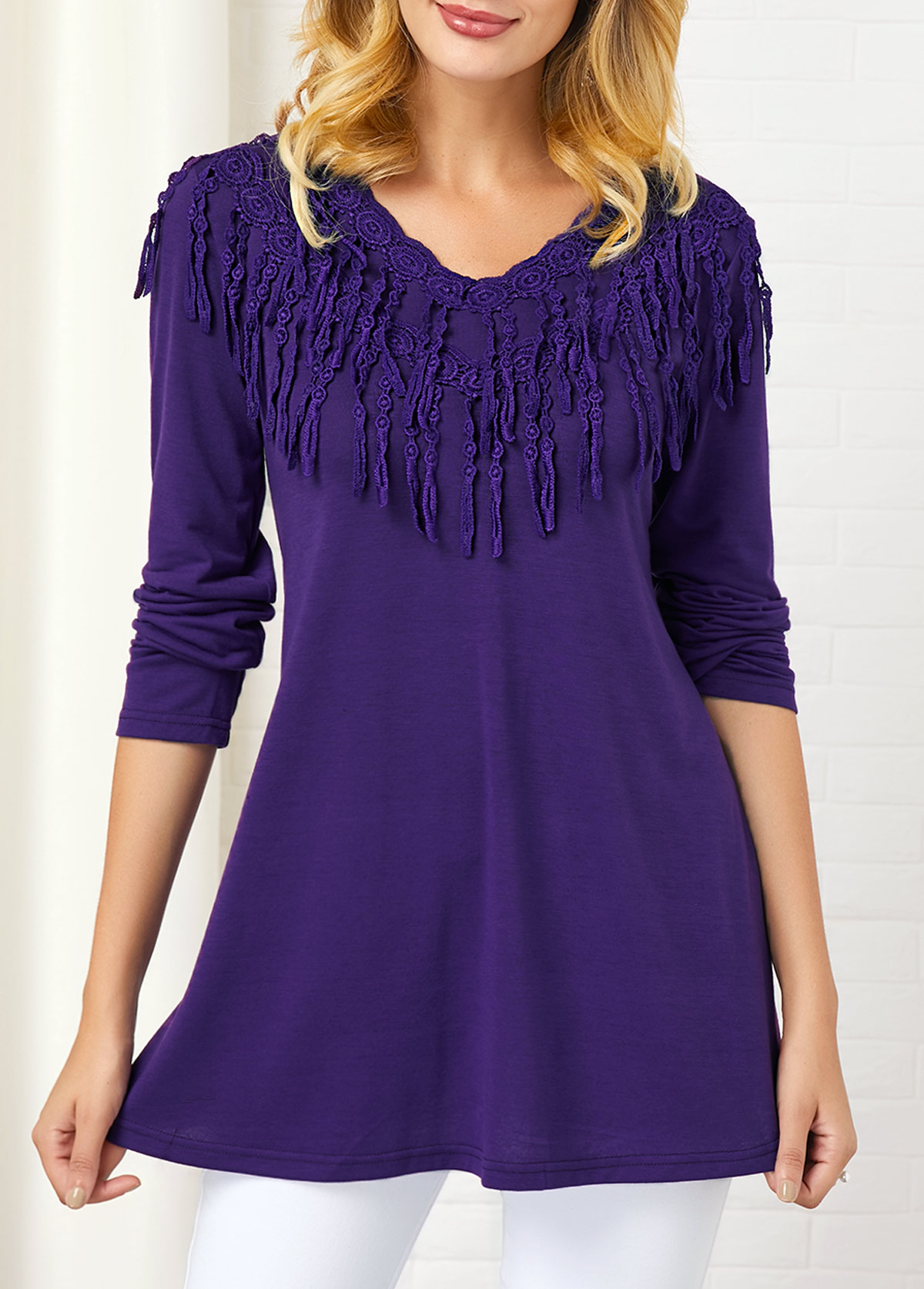 Lace Panel Long Sleeve Round Neck T Shirt