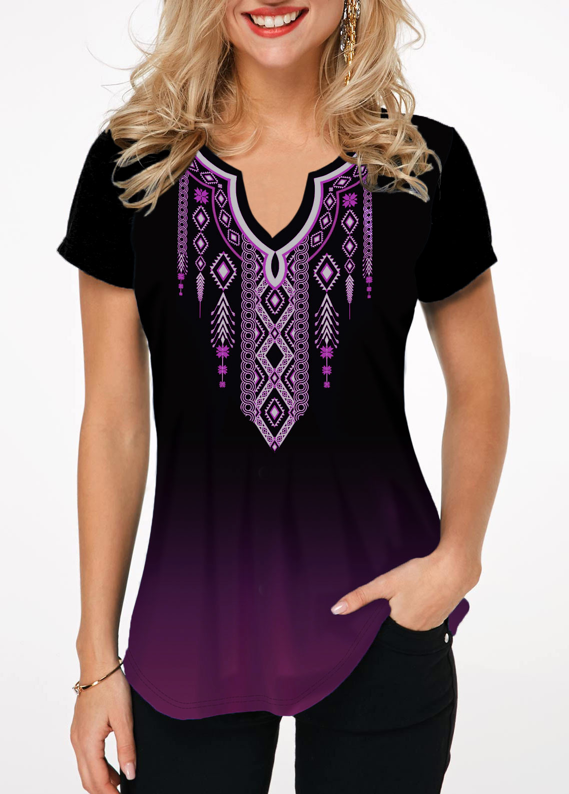 Tribal Print Notch Neck Short Sleeve T Shirt