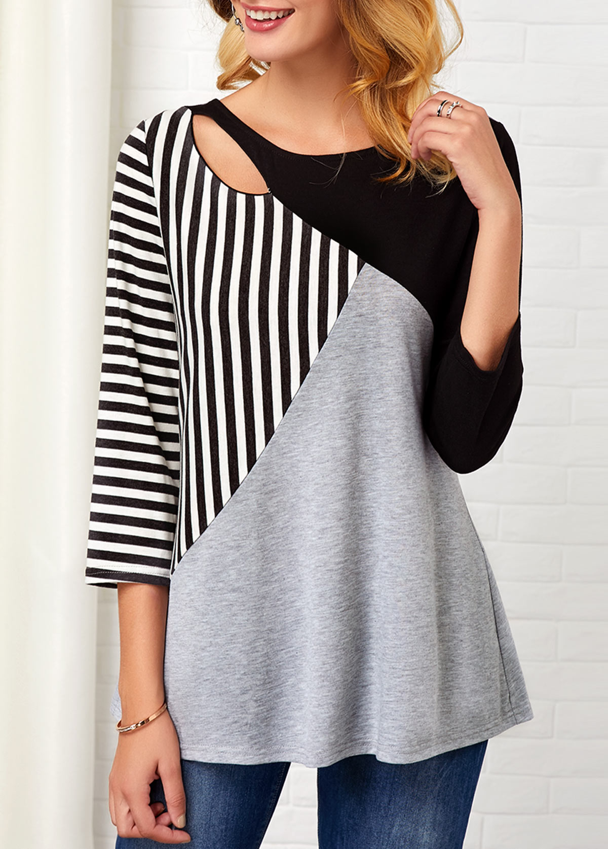 Stripe Print Hollow Front Three Quarter Sleeve T Shirt