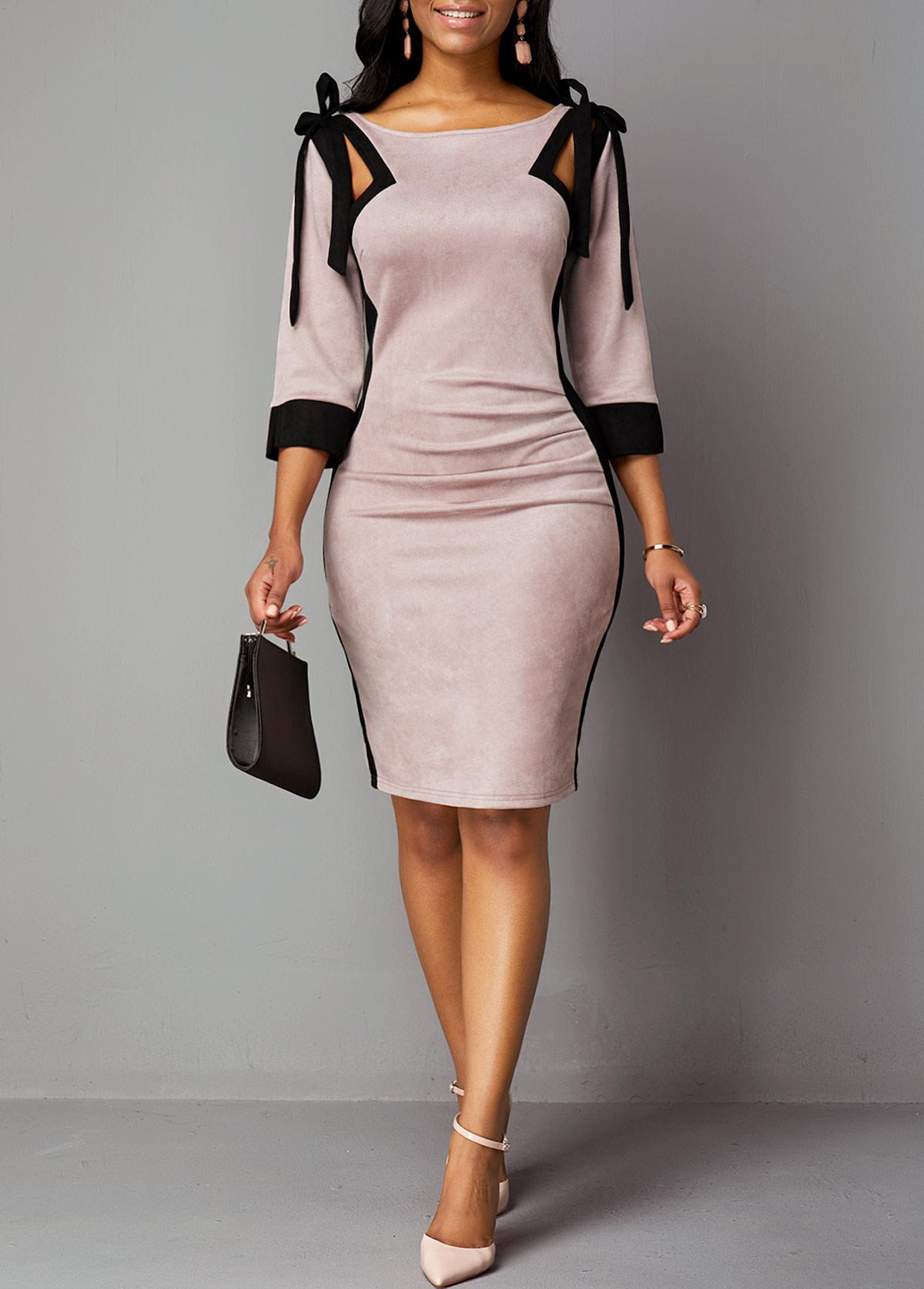 Tie Shoulder Back Zipper Three Quarter Sleeve Dress