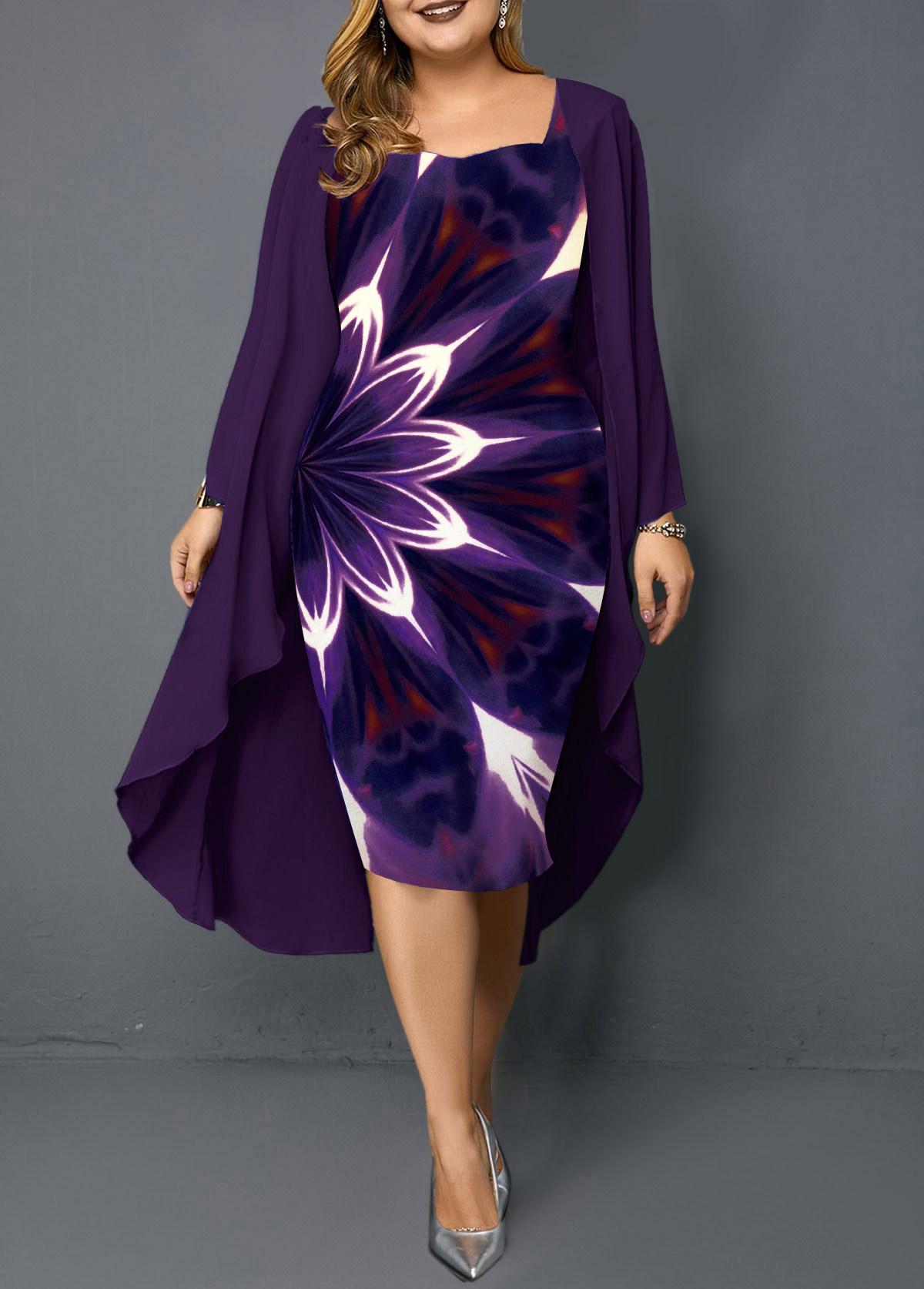 Plus Size Chiffon Cardigan and Printed Sheath Dress