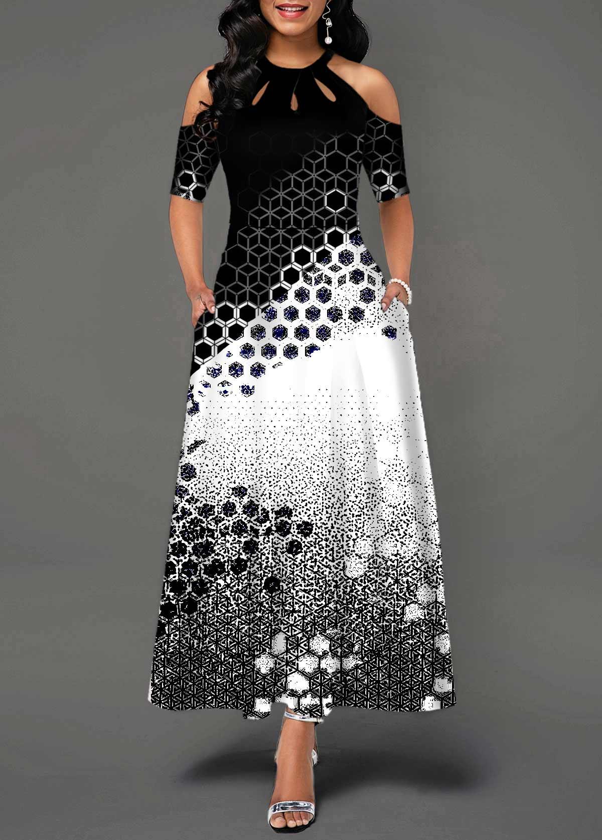 Geometric Print Cold Shoulder Bib Neck Maxi Dress