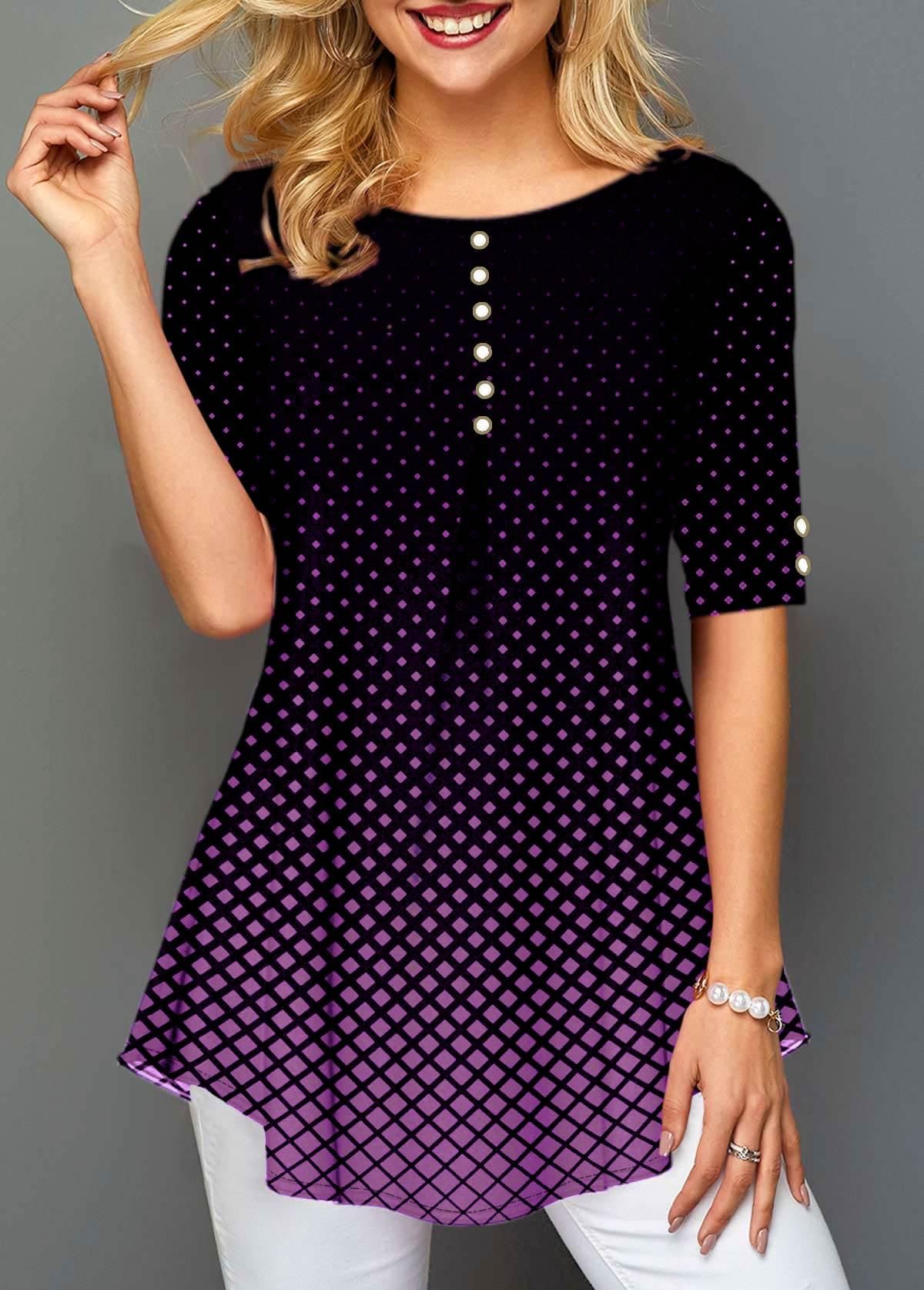Polka Dot Print Pearl Embellished Half Sleeve Blouse