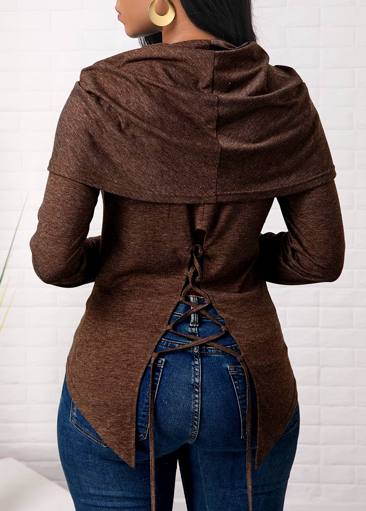 Lace Up Back Long Sleeve Brown Sweatshirt