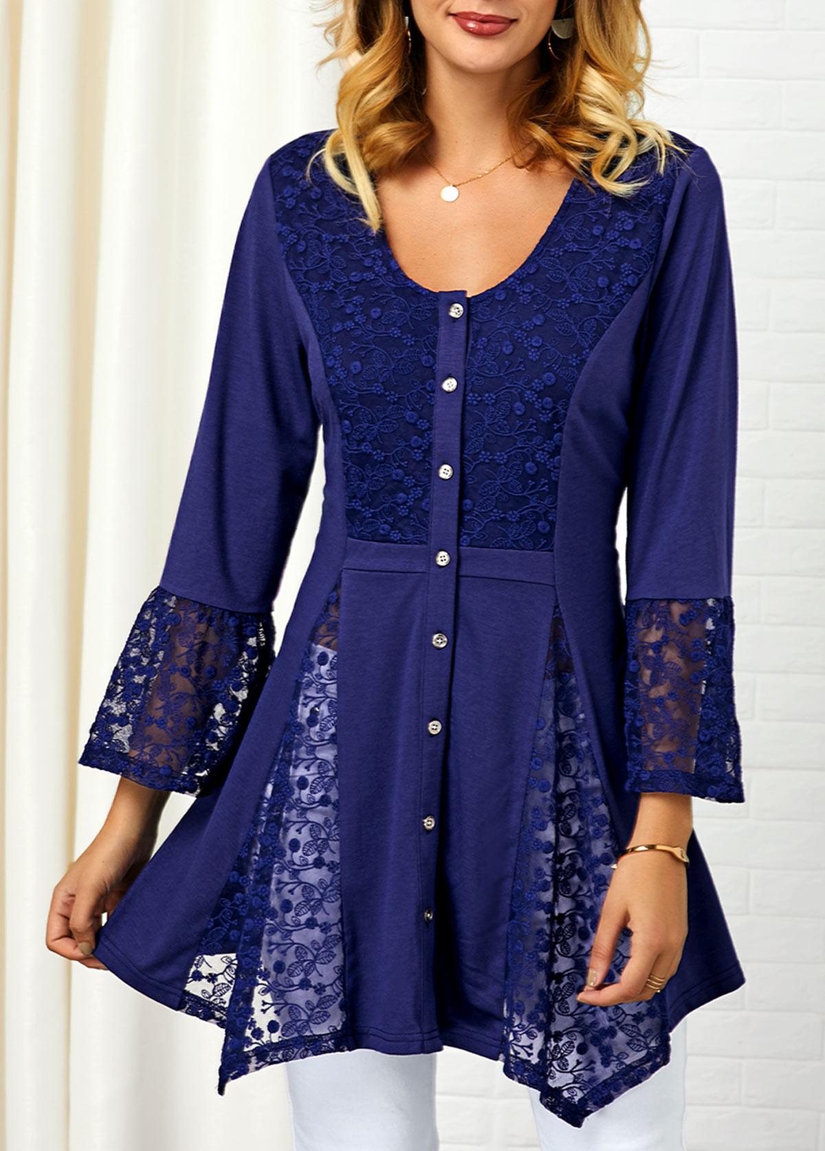 Asymmetric Hem Lace Panel Button Up Shirt