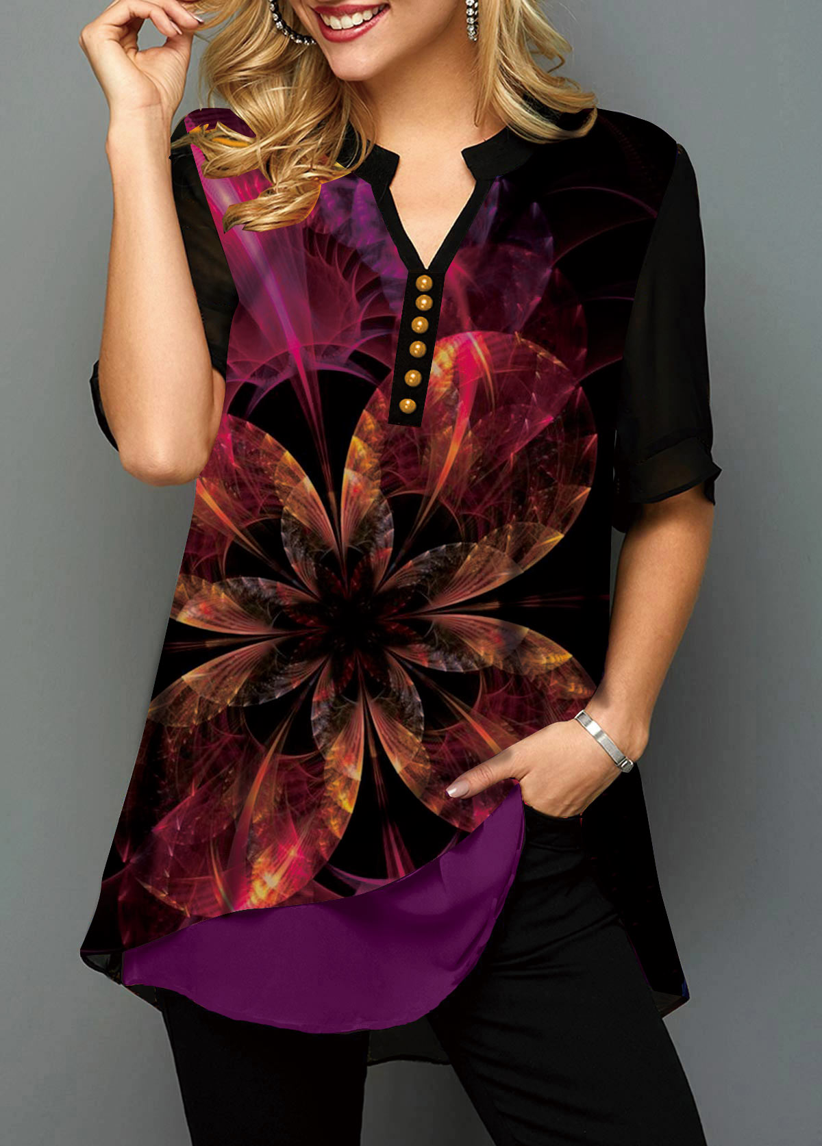 Printed Half Sleeve Split Neck Blouse