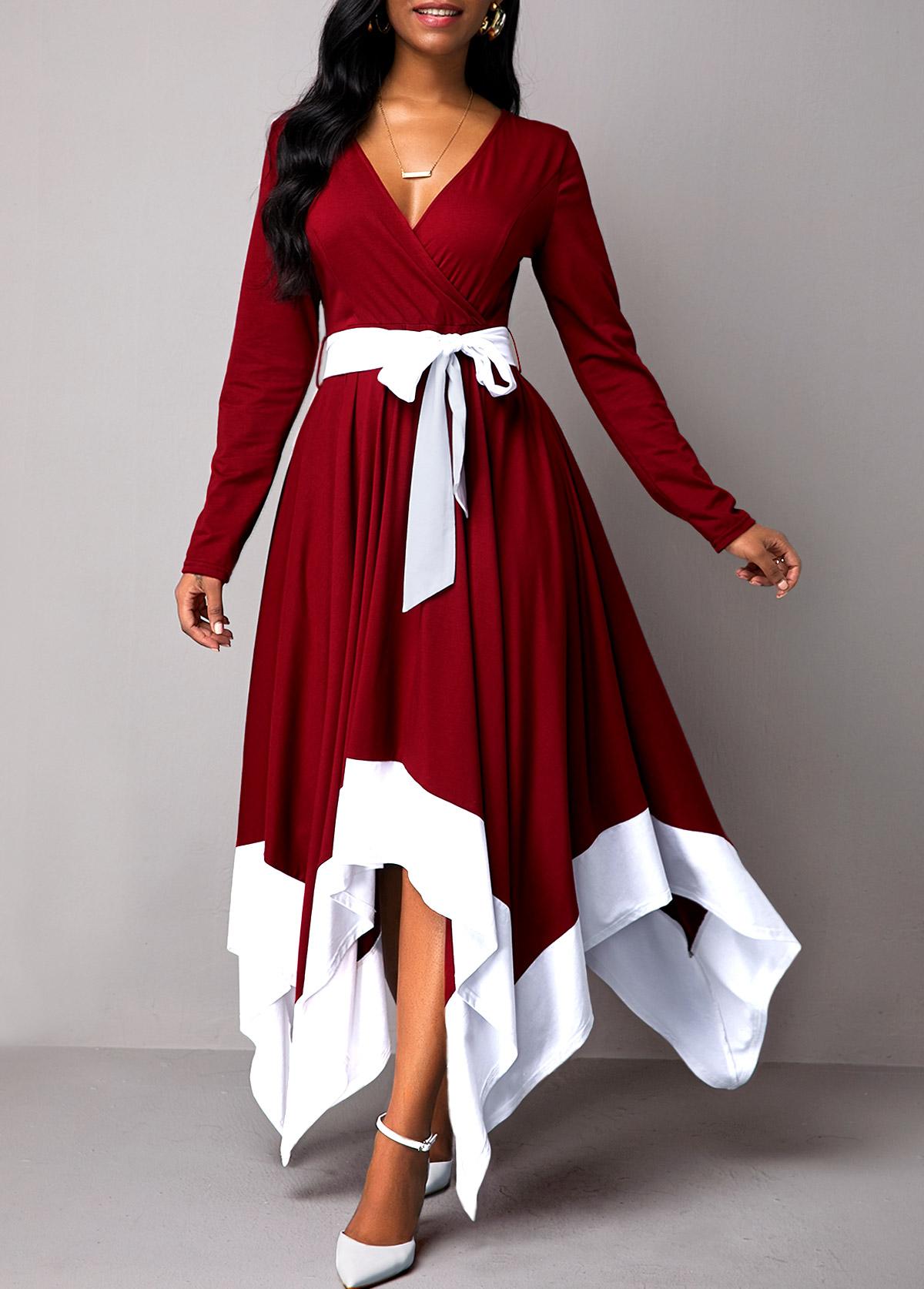 Asymmetric Hem Belted Long Sleeve Maxi Dress