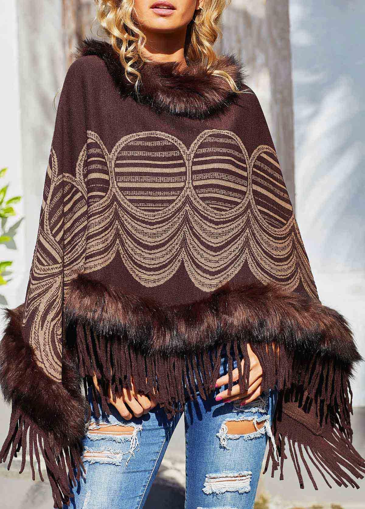 Tassel Hem Fur collar Pullover Sweater