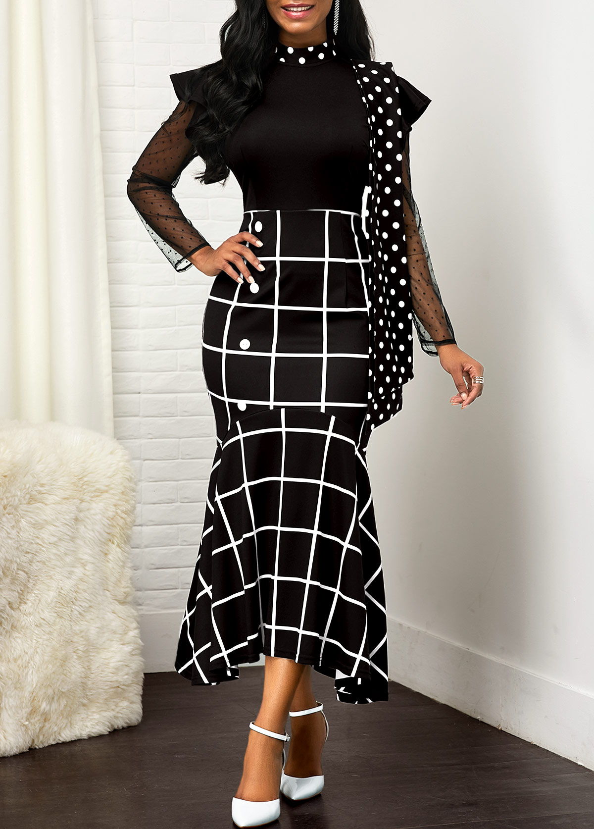 Plaid and Dot Print Mesh Panel Dress