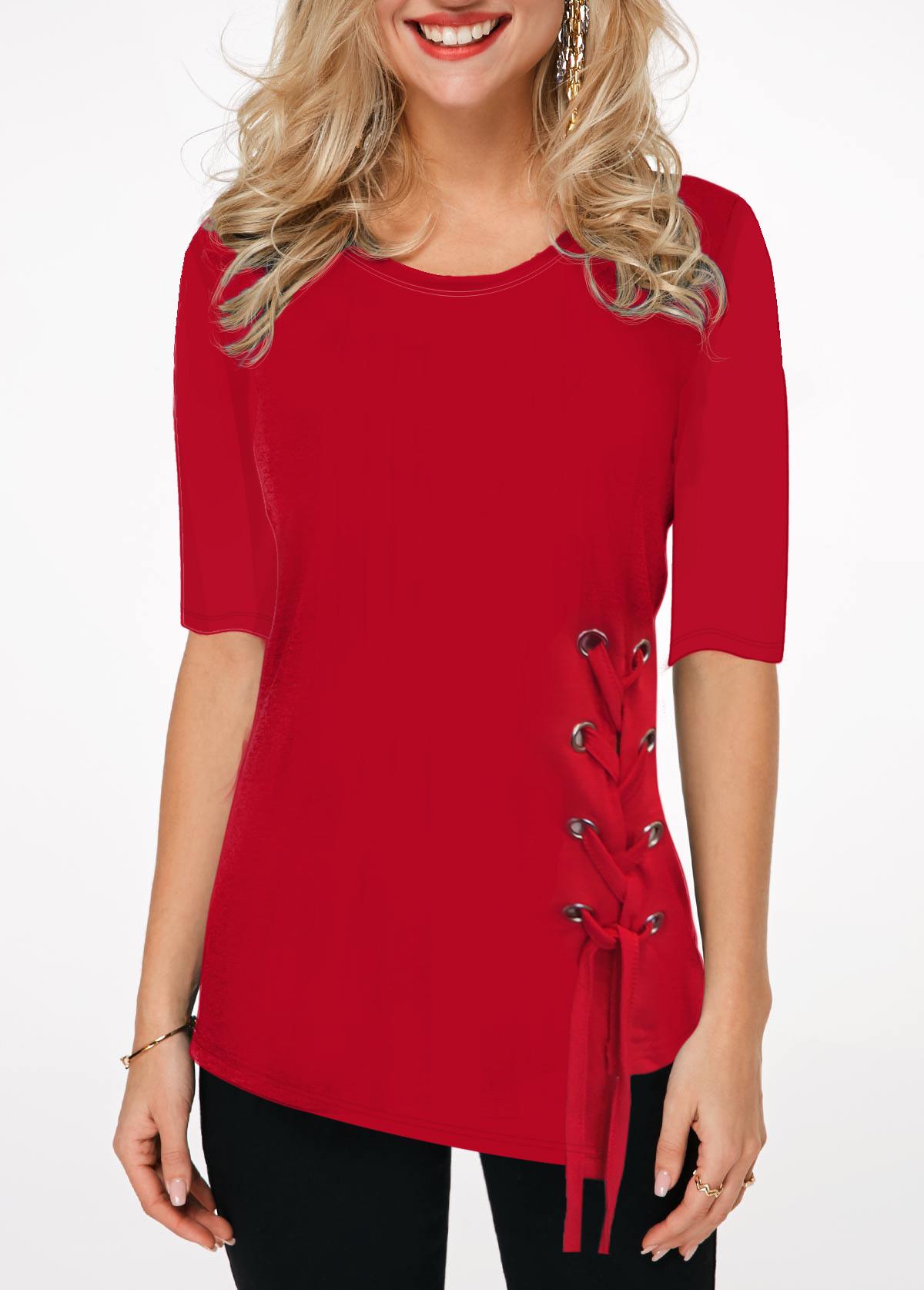 Red Half Sleeve Round Neck T Shirt