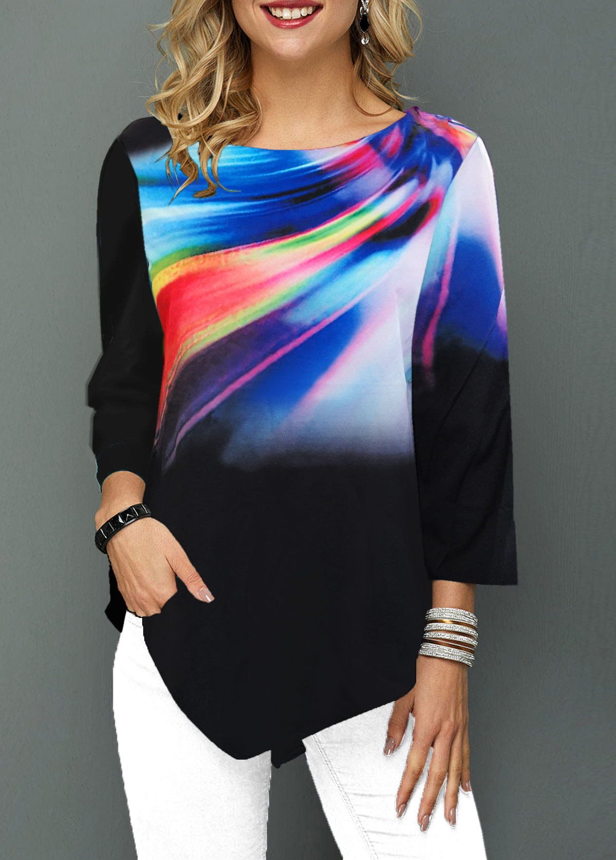 Dazzle Color Asymmetric Hem Printed T Shirt