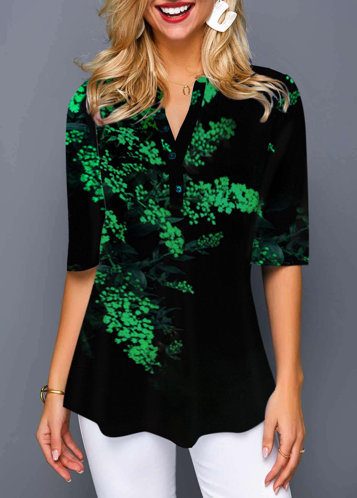 Ombre Print Split Neck Half Sleeve T Shirt