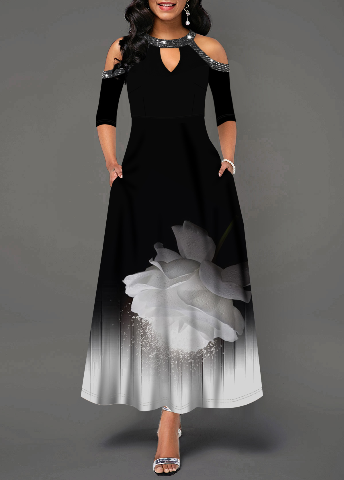 Cold Shoulder Keyhole Neckline Sequin Embellished Printed Maxi Dress