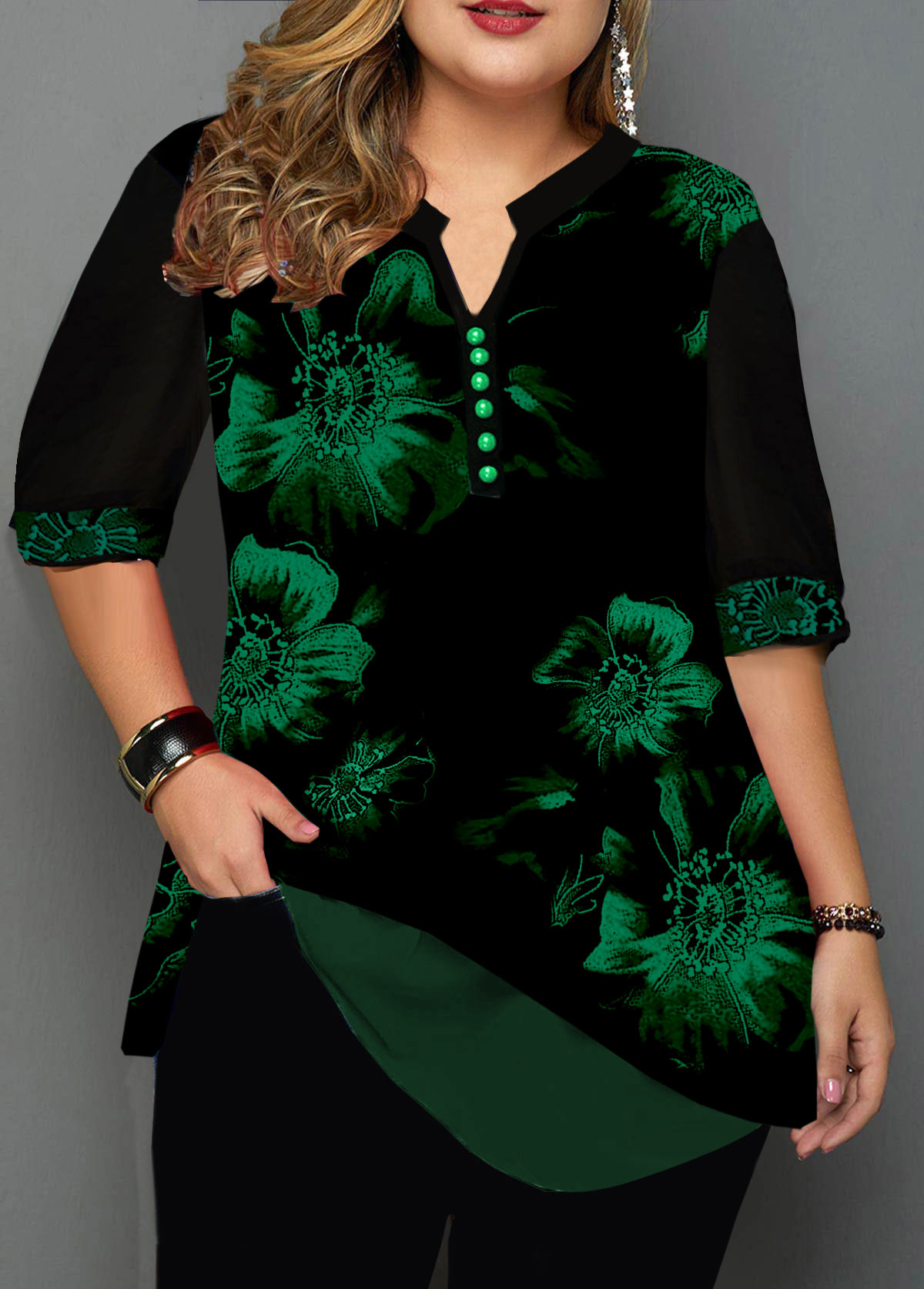 Plus Size Button Detail Split Neck Blouse