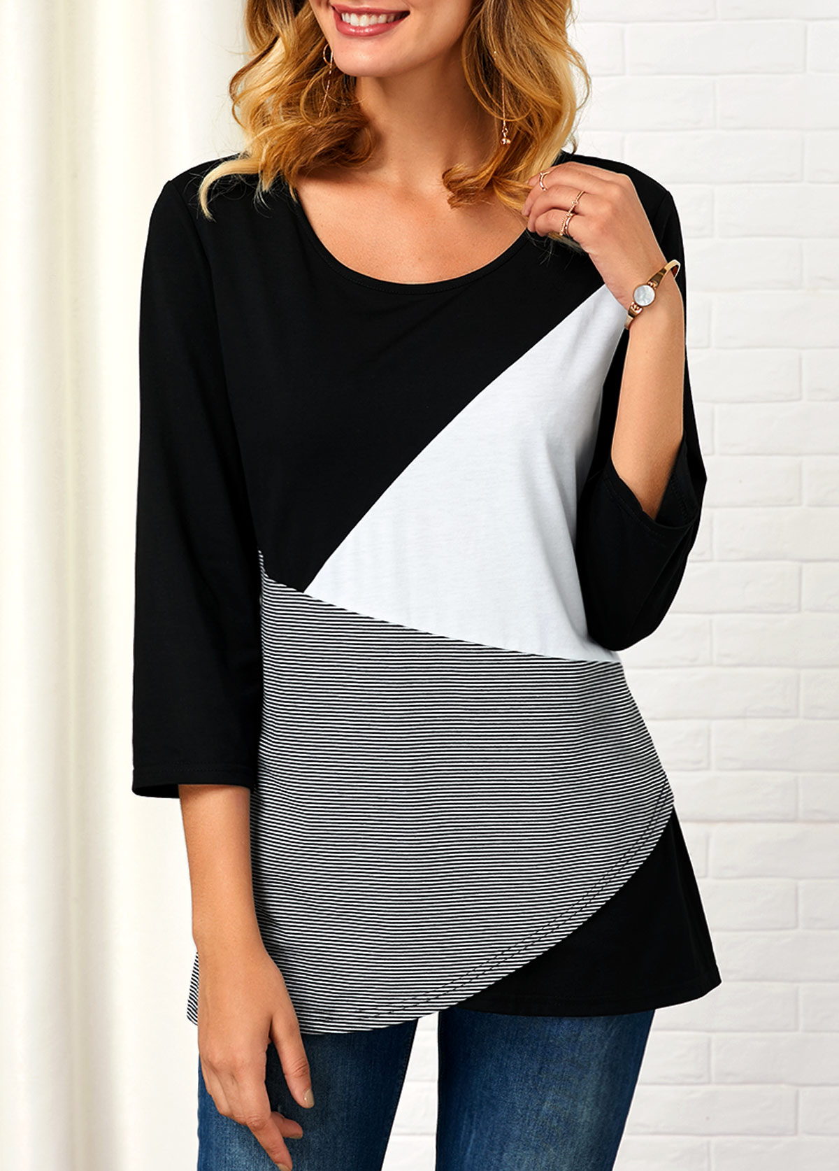 Striped Round Neck Three Quarter Sleeve T Shirt