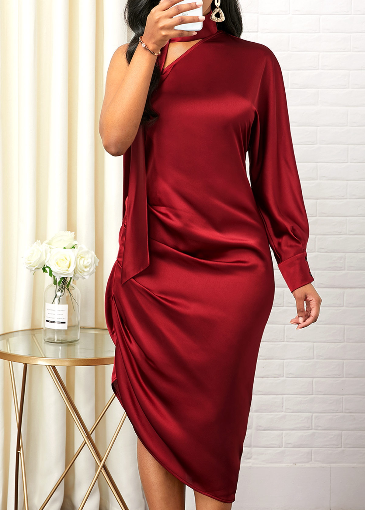 One Shoulder Asymmetric Hem Side Zipper Sheath Dress
