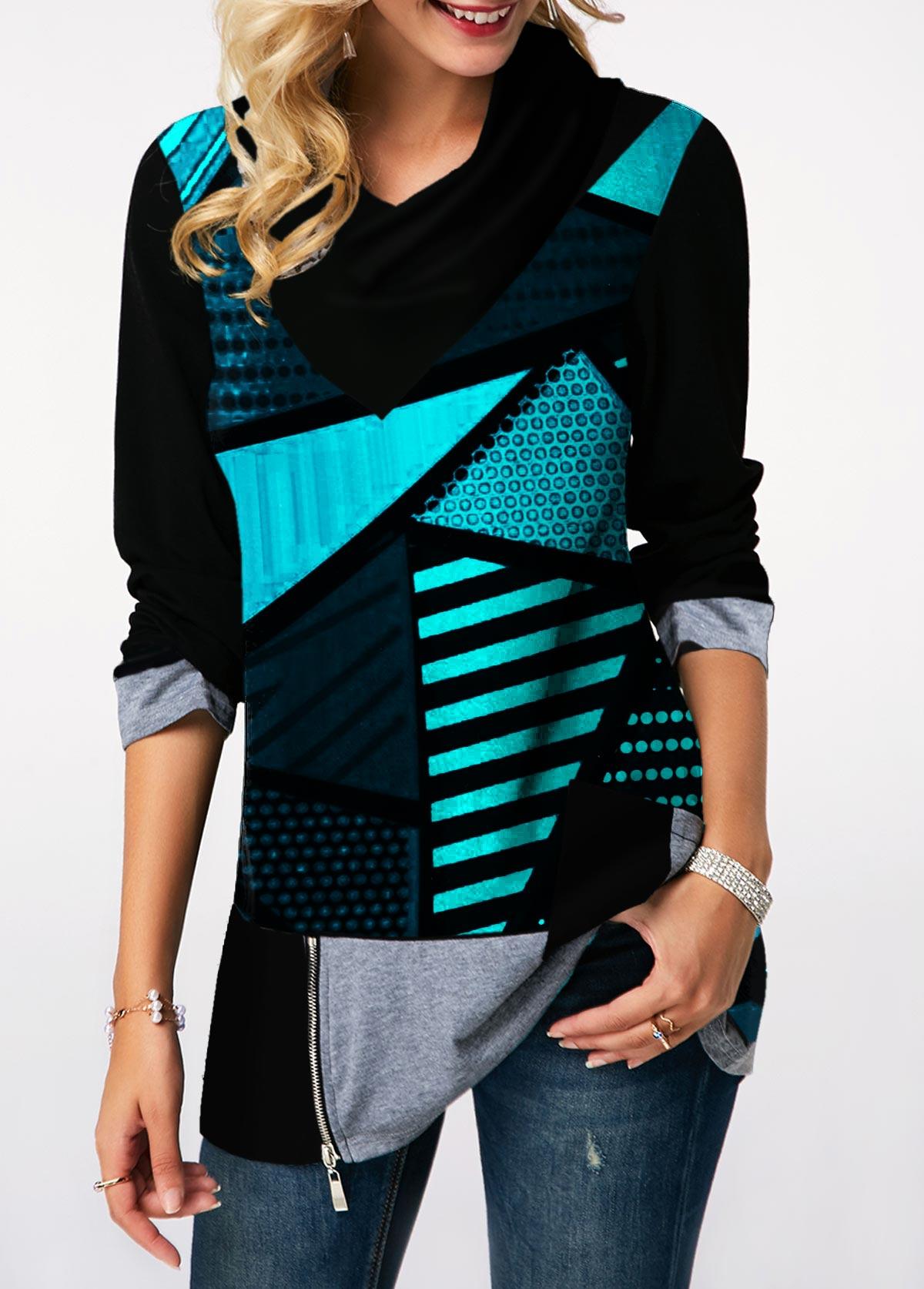 Geometric Print Long Sleeve Zipper Detail Sweatshirt