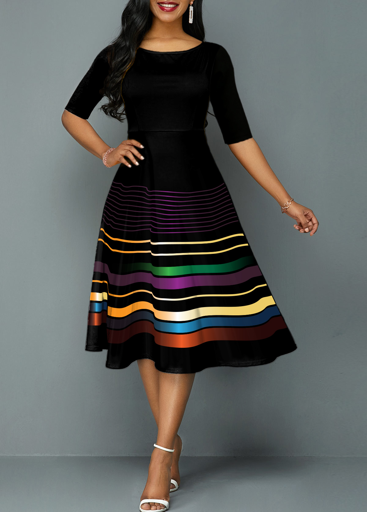 Stripe Print Half Sleeve Round Neck Dress