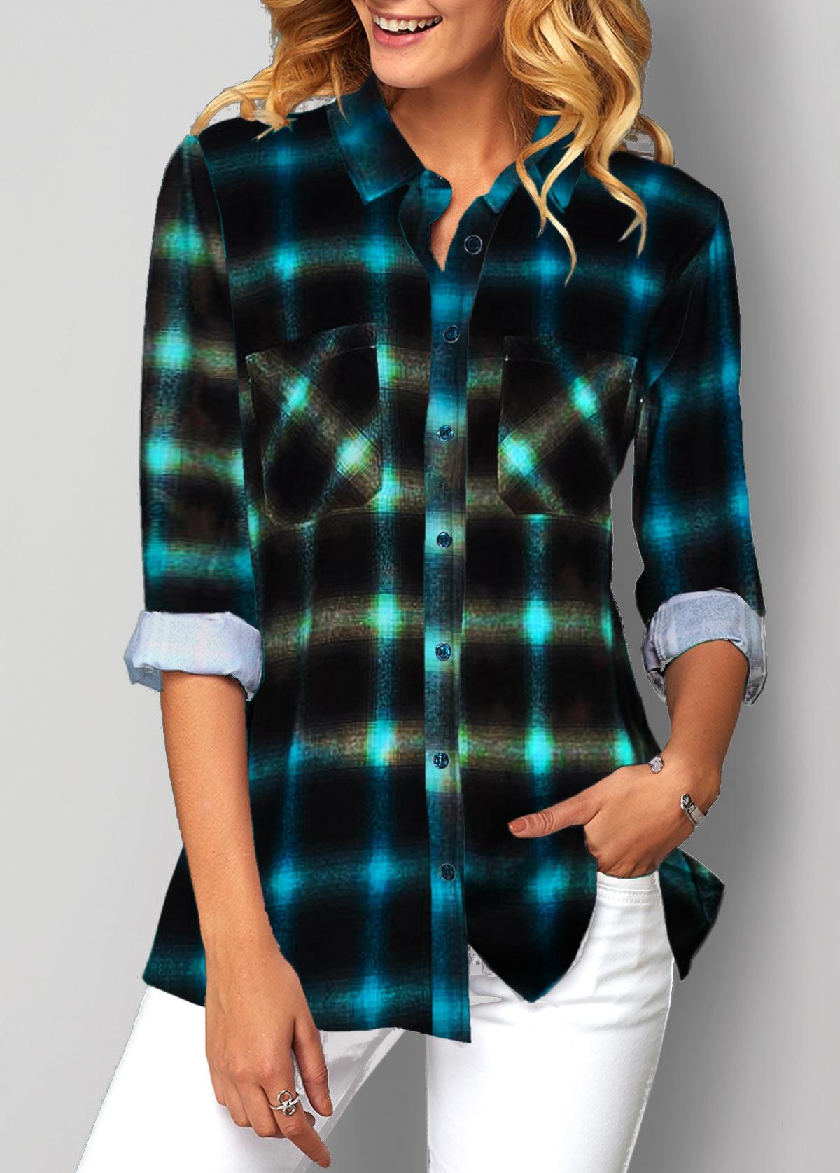 Plaid Print Button Up Turndown Collar Shirt