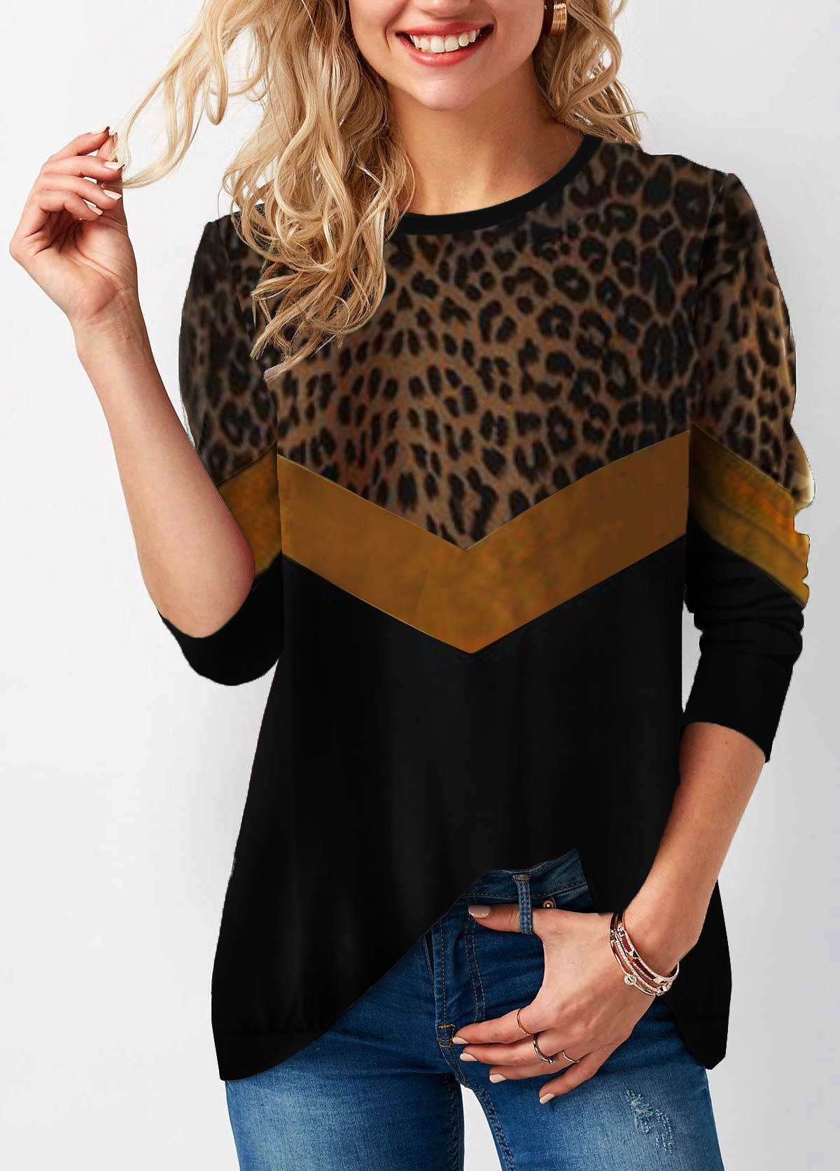 Long Sleeve Leopard Print Round Neck T Shirt