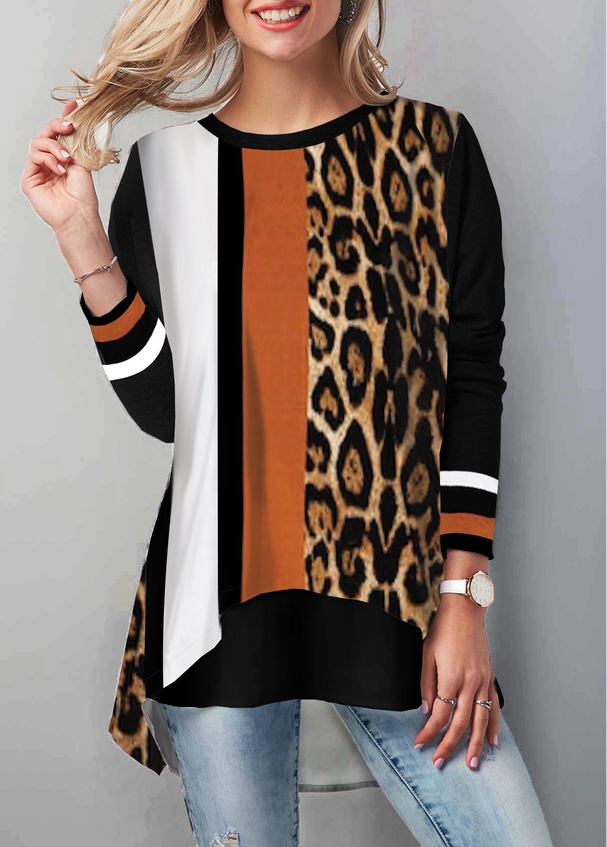 Leopard Print Round Neck Long Sleeve T Shirt