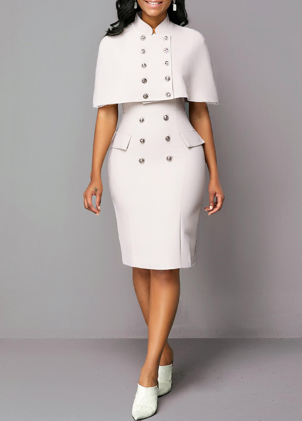 Button Detail Cape Shoulder Top and Sheath Dress