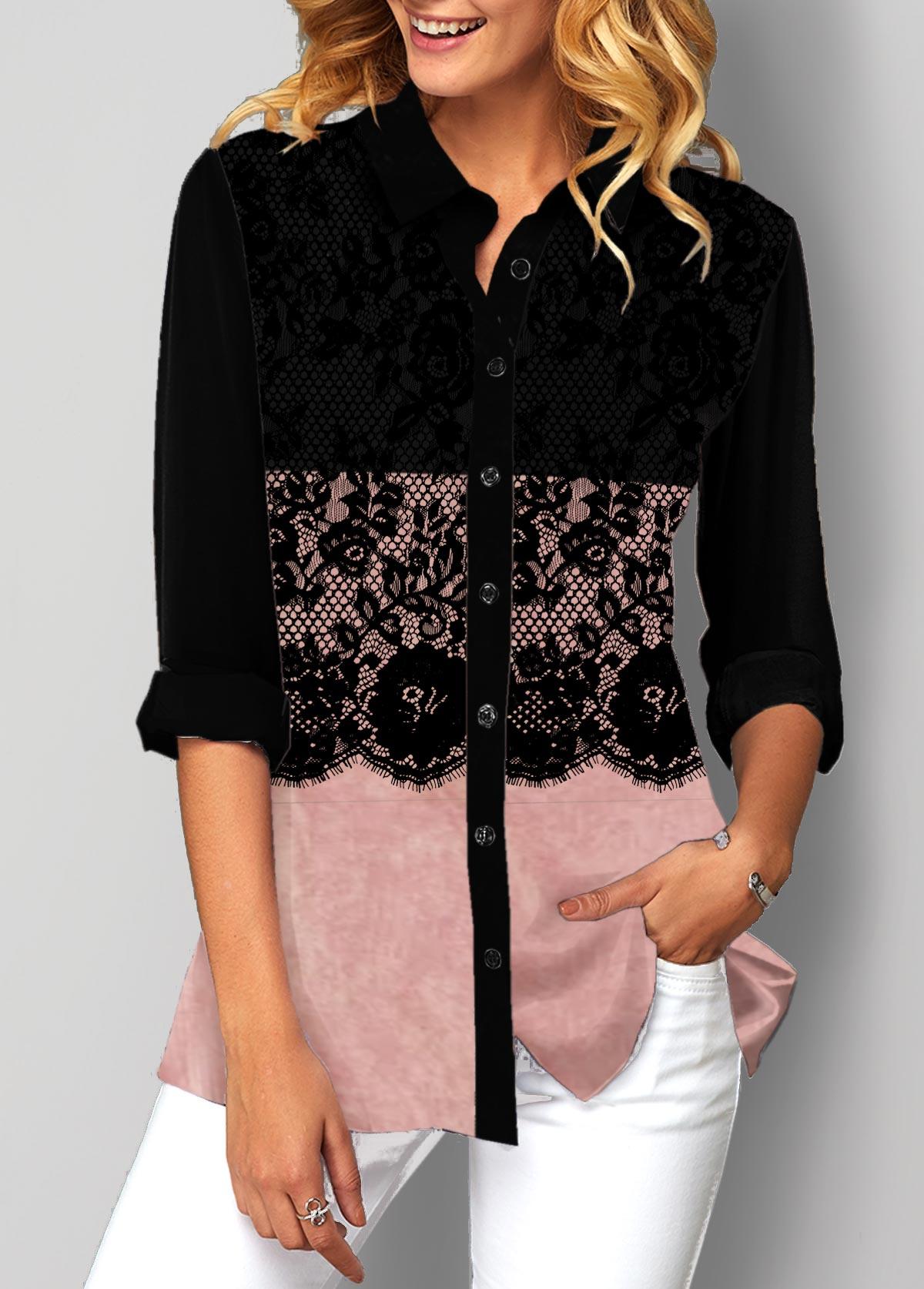 Lace Patchwork Button Up Color Block Blouse