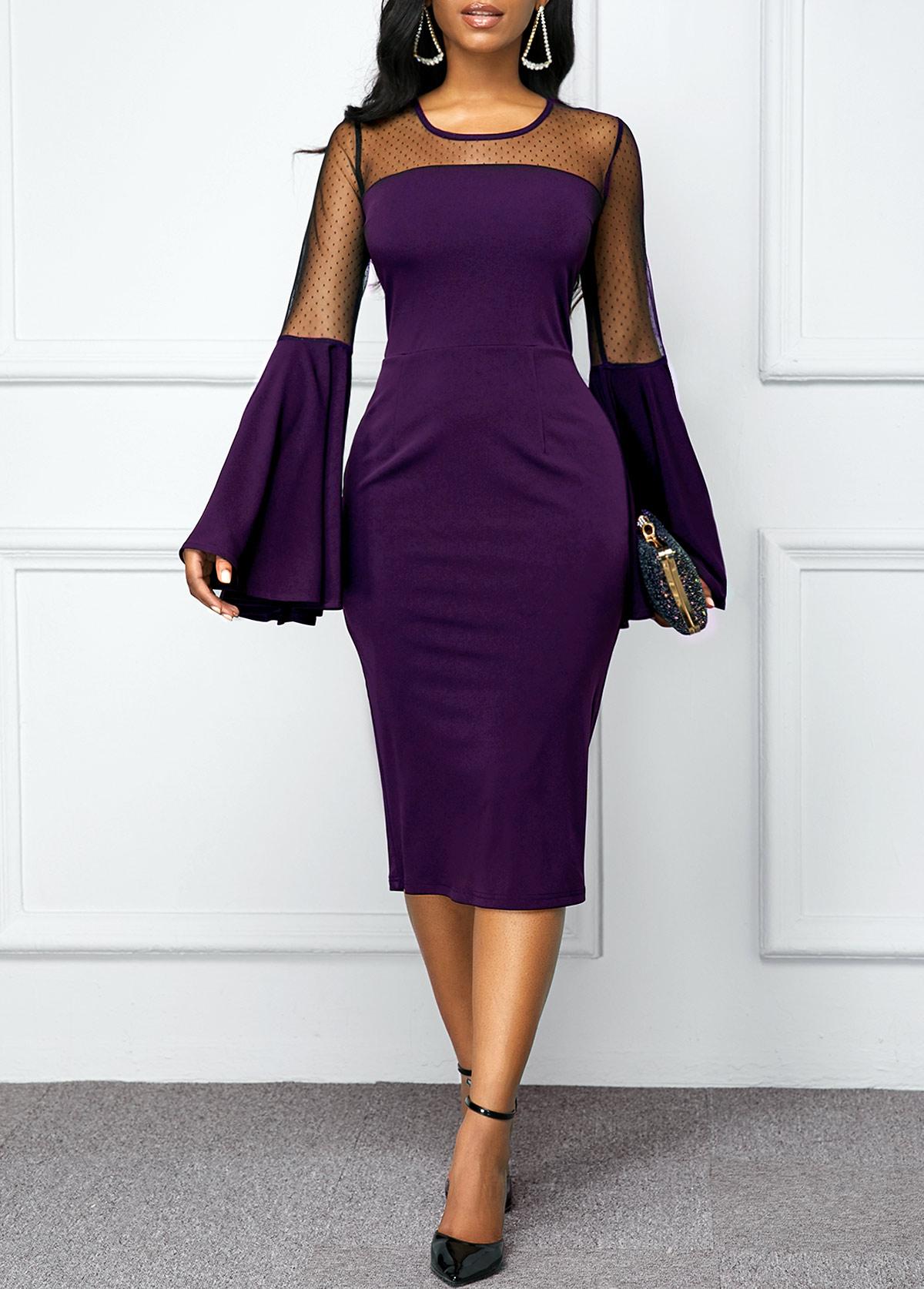 Flare Sleeve Mesh Patchwork Back Zipper Dress
