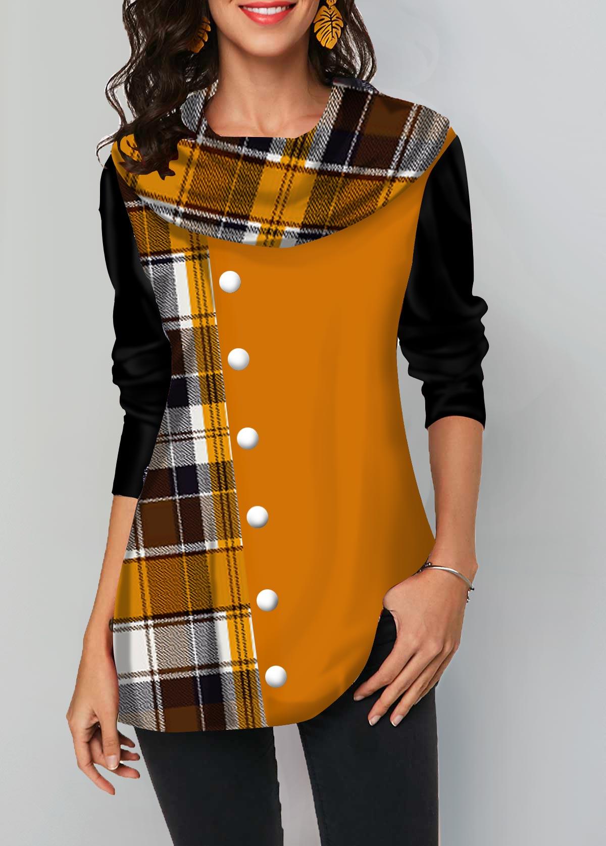 Geometric Print Layered Hem Long Sleeve T Shirt