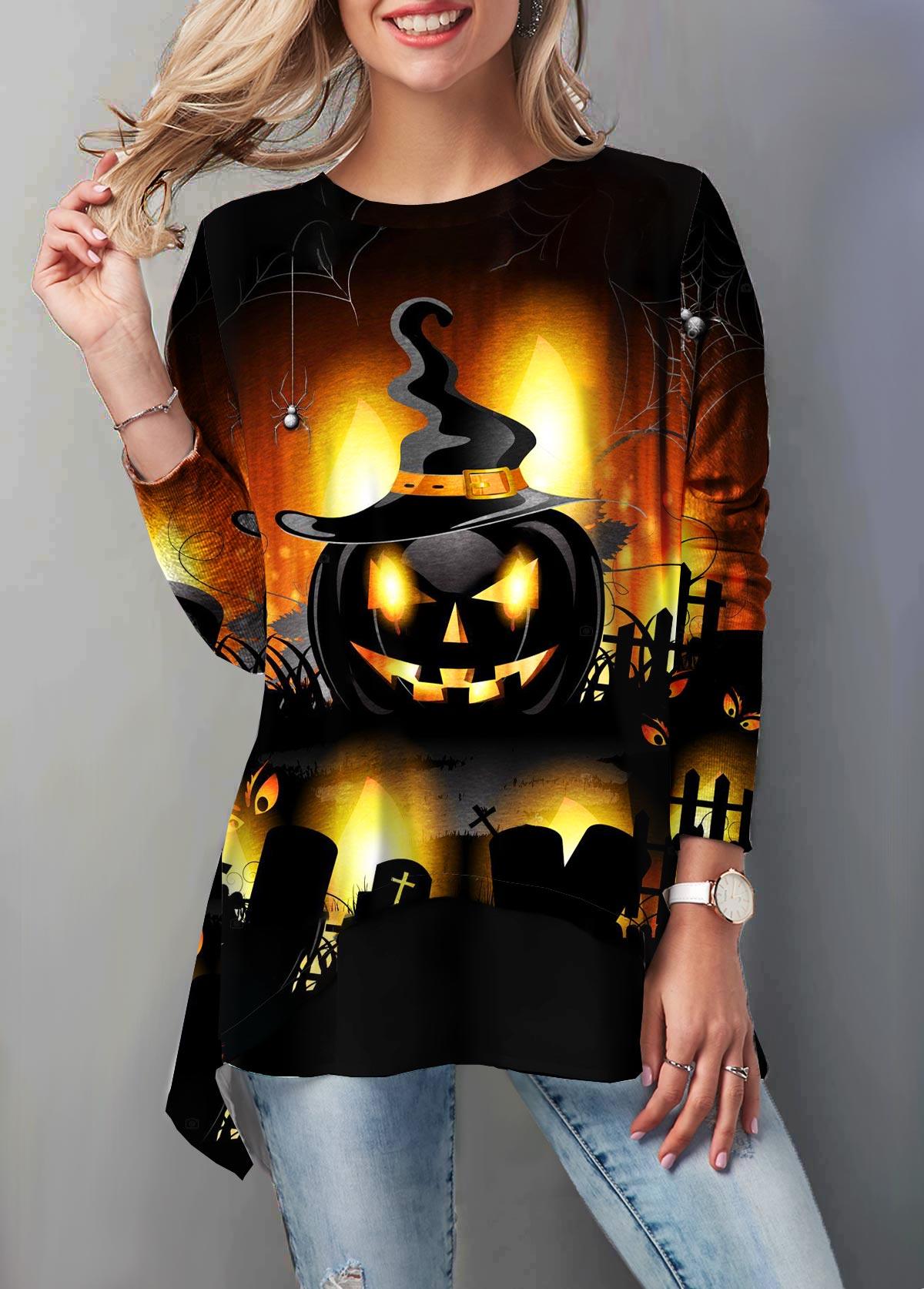 Halloween Pumpkin Print Round Neck T Shirt