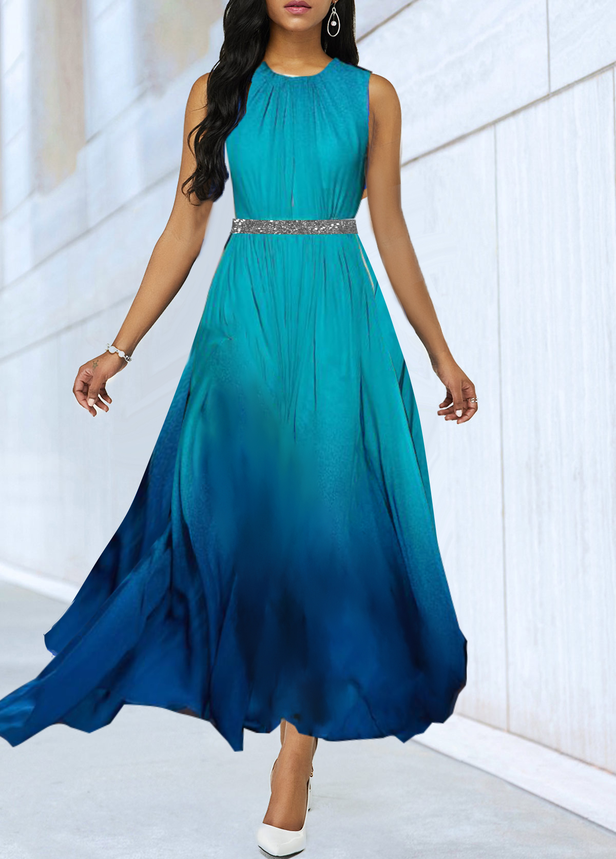 Blue Gradient Sequin Panel High Waist Dress