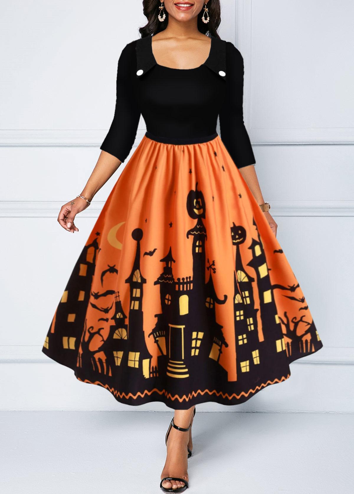 Halloween Castle Print High Waist Turndown Collar Dress
