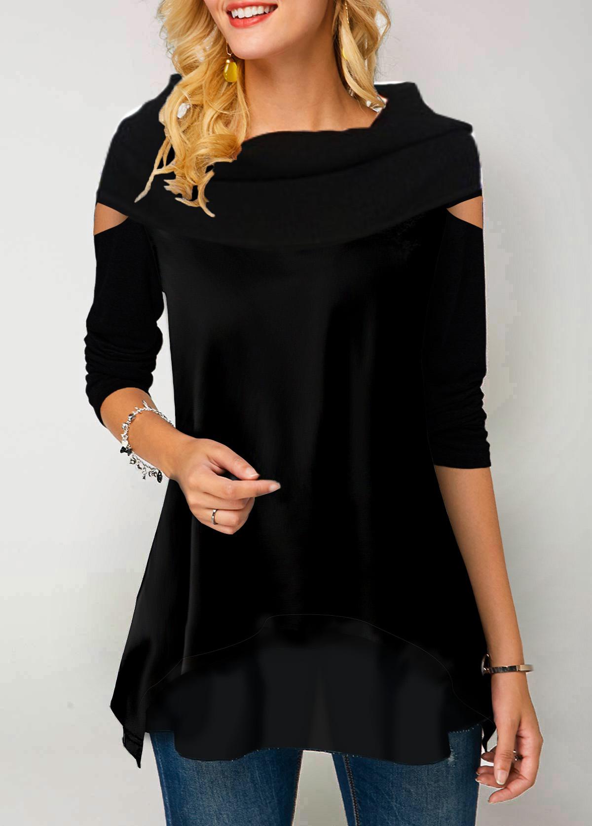 Long Sleeve Black Chiffon Patchwork T Shirt