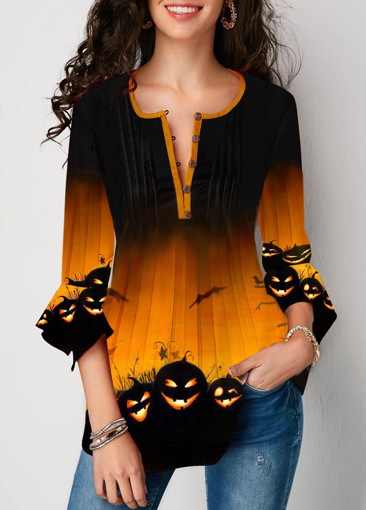 Halloween Pumpkin Print Flare Cuff Button Front Blouse