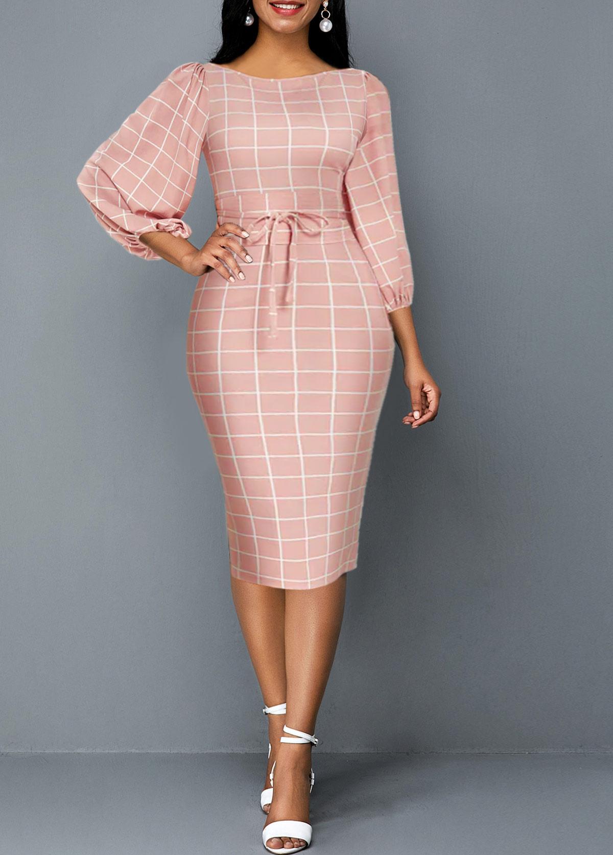 Plaid Print Tie Front Lantern Sleeve Sheath Dress
