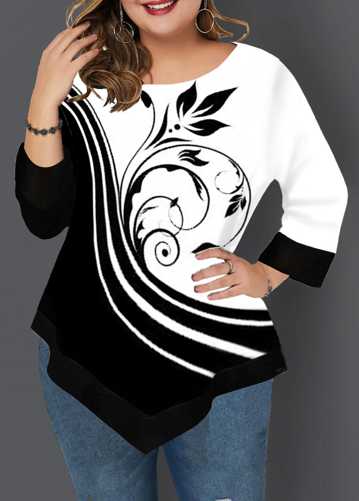 Asymmetric Hem Plus Size Printed T Shirt