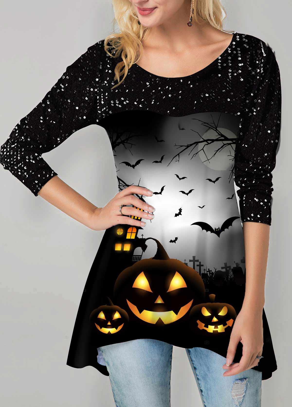 Asymmetric Hem Halloween Print Sequin Embellished T Shirt