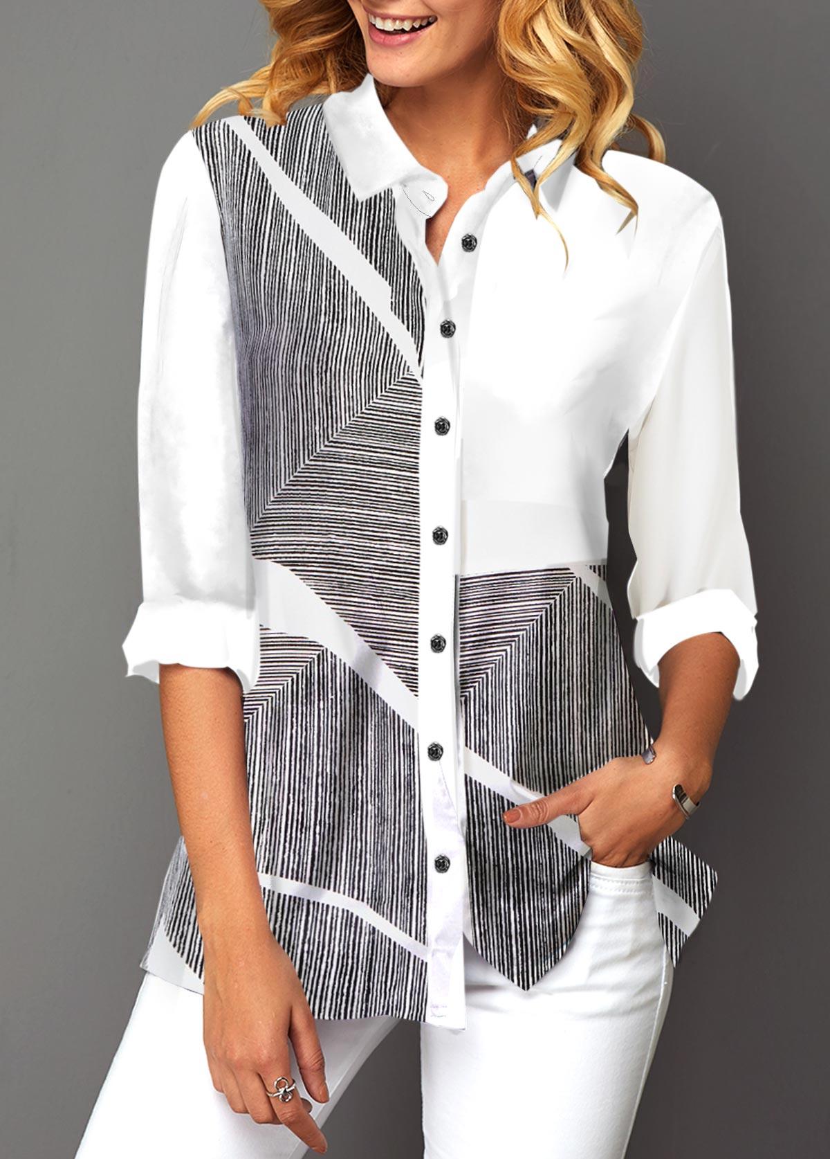 Button Up Turndown Collar Printed Shirt