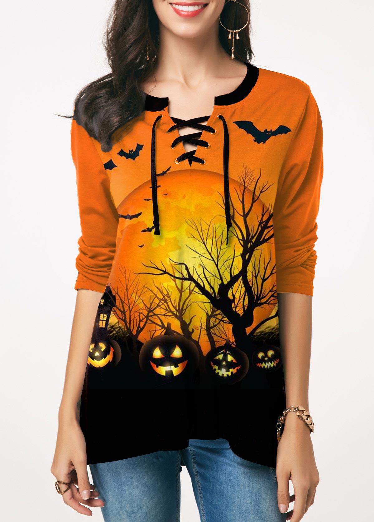 Pumpkin Lamp Print Lace Up Front T Shirt