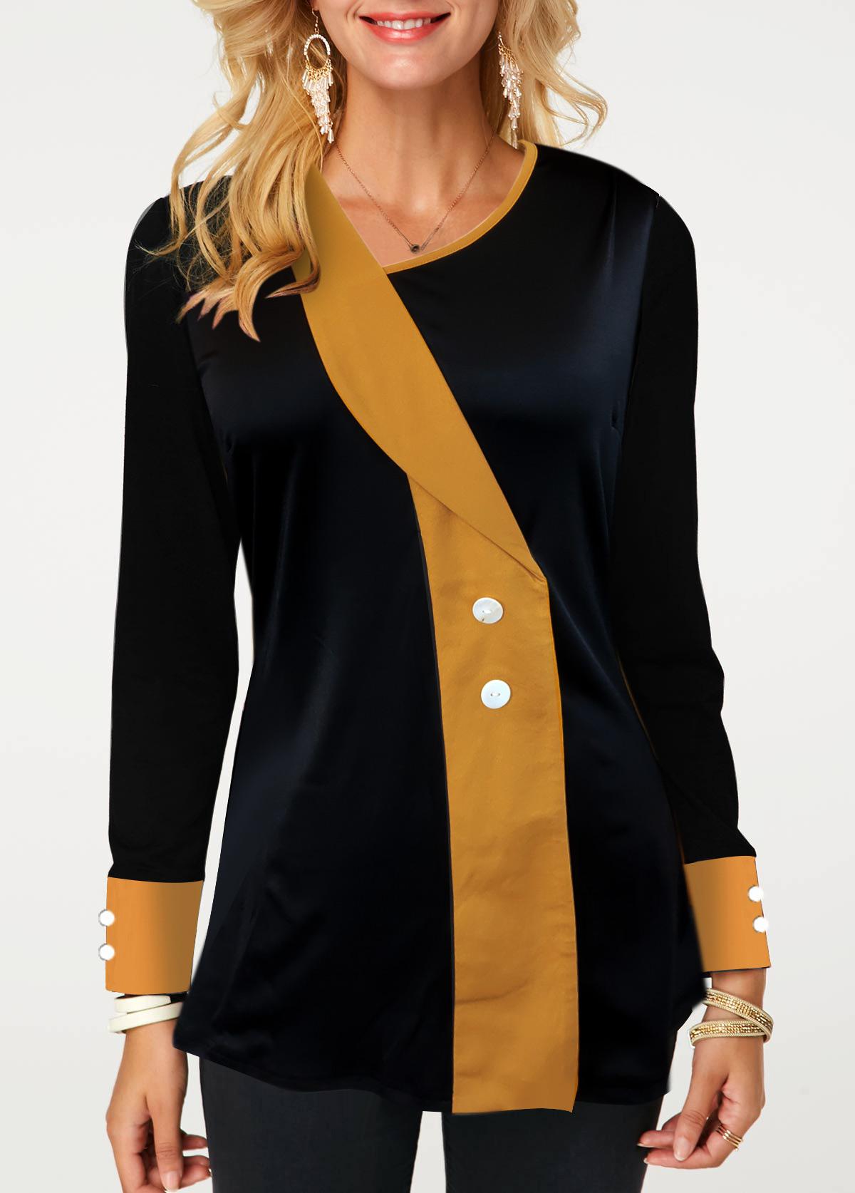 Asymmetric Neckline Button Detail Contrast Panel T Shirt