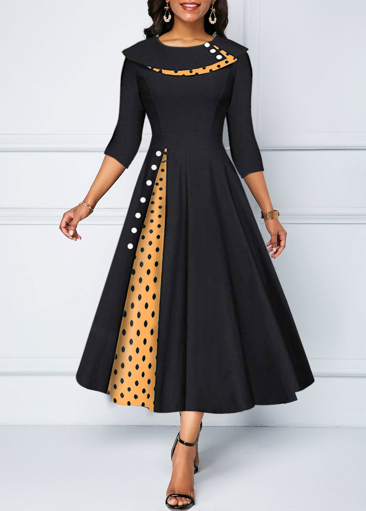 Polka Dot Print Button Detail Dress