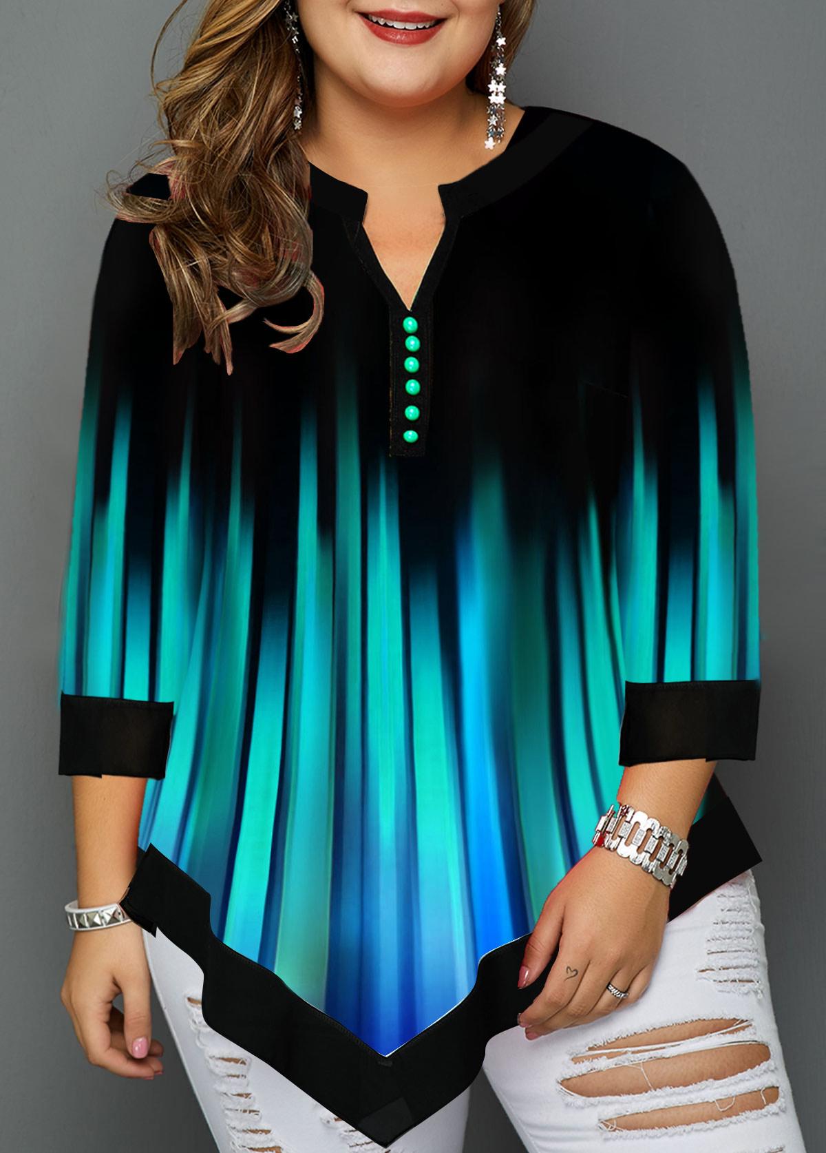 Plus Size Asymmetric Hem Split Neck T Shirt