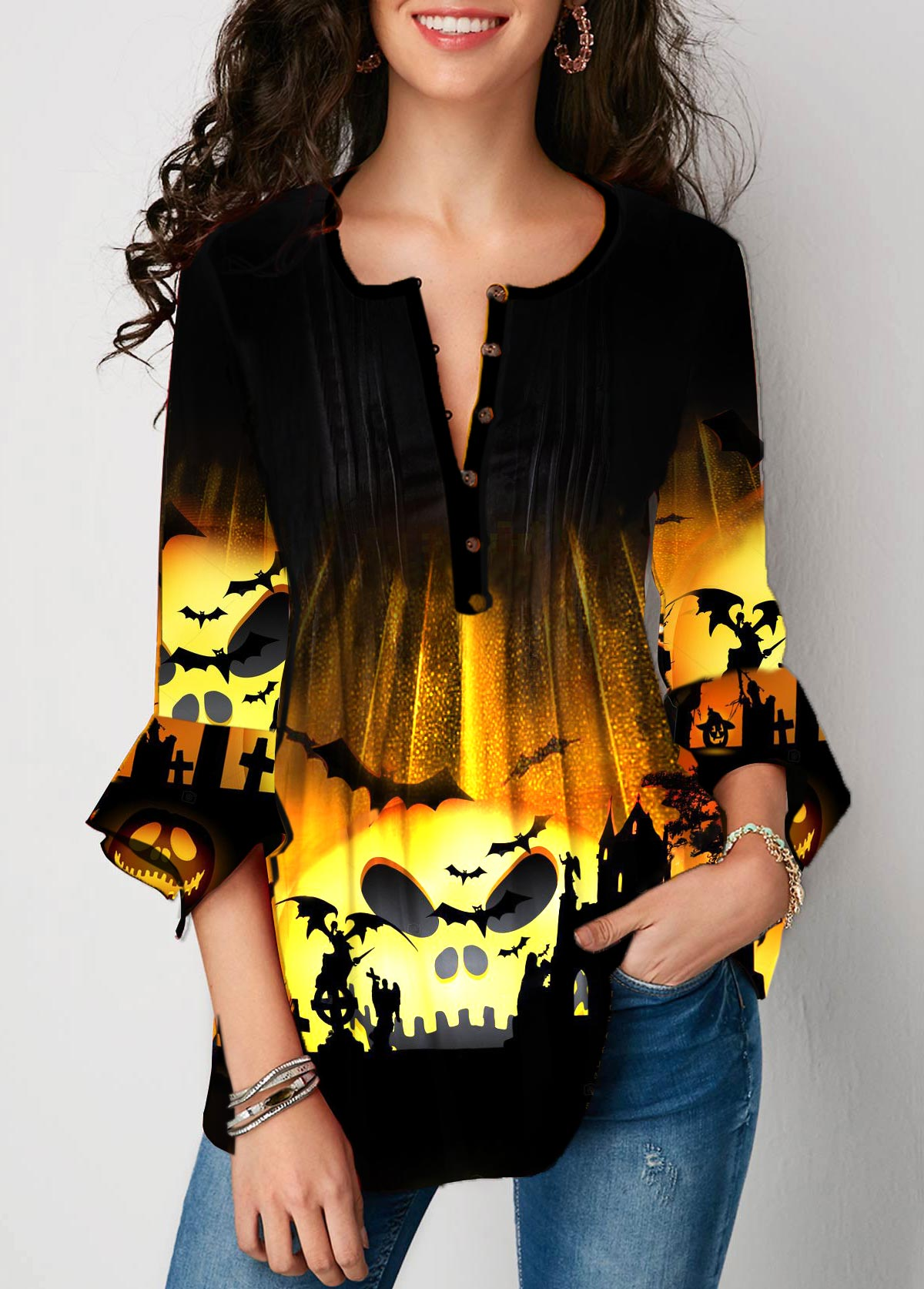 Flare Sleeve Halloween Print Button Front T Shirt