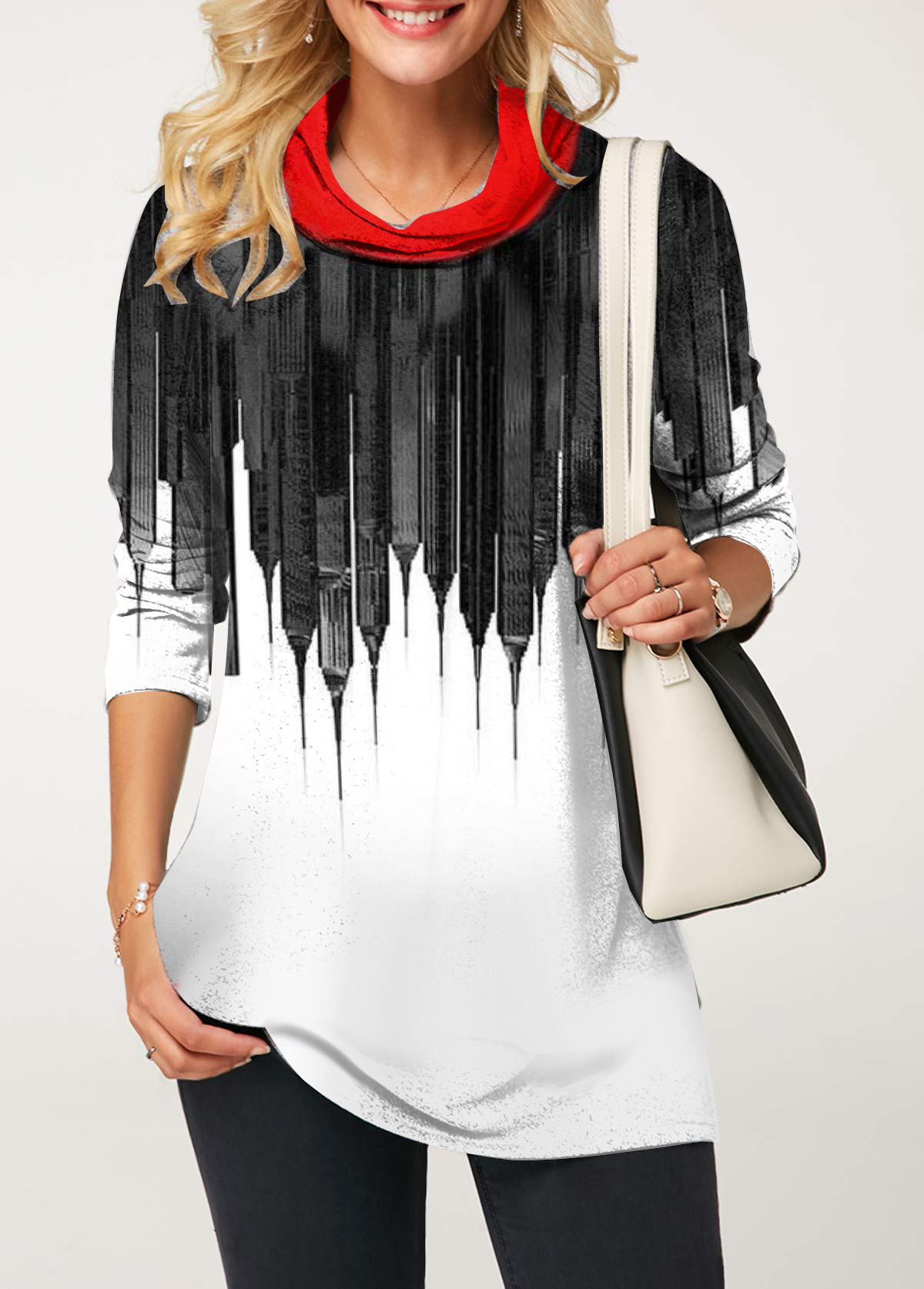 Printed Cowl Neck Color Block T Shirt