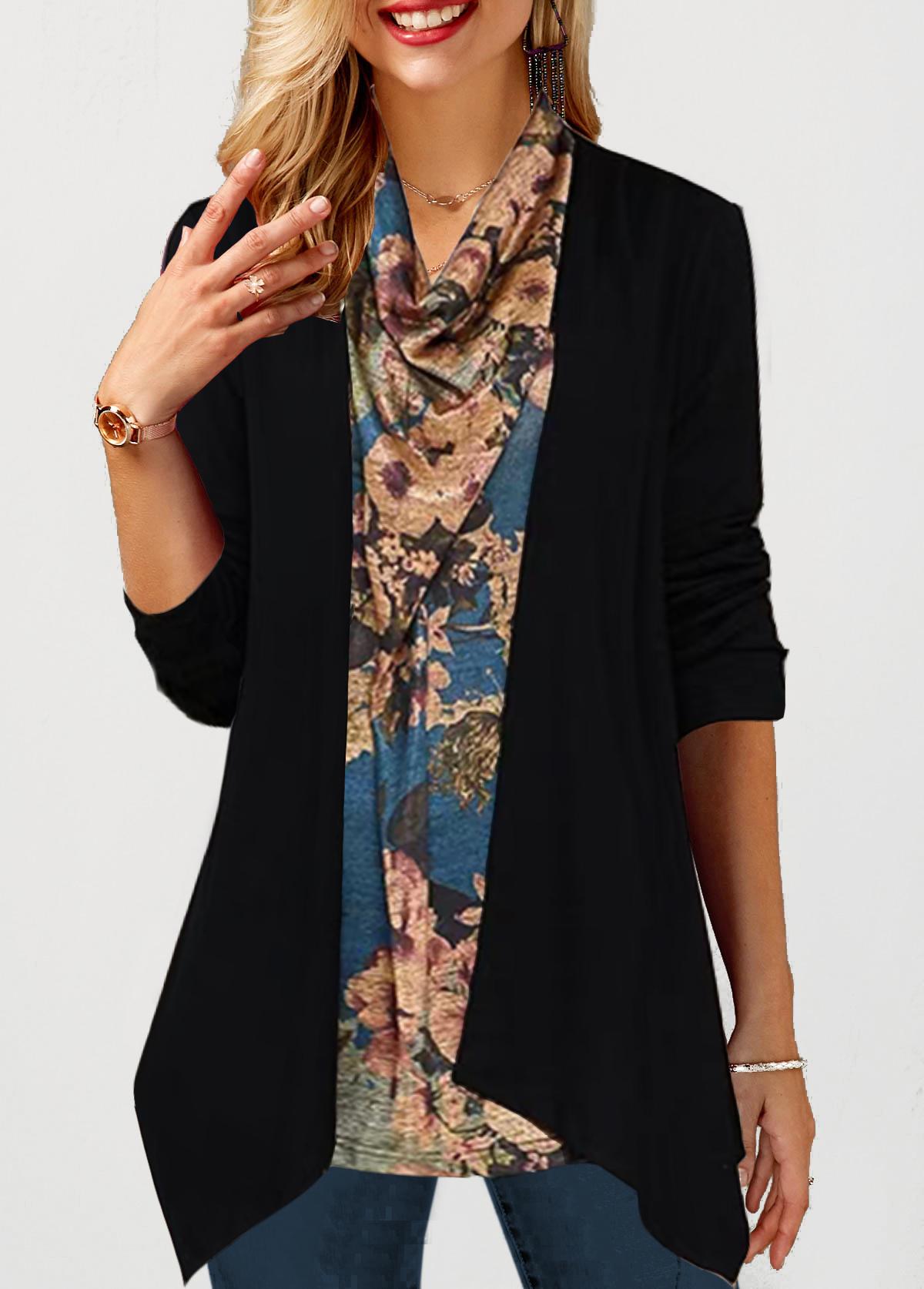Cowl Neck Floral Print Faux Two Piece T Shirt