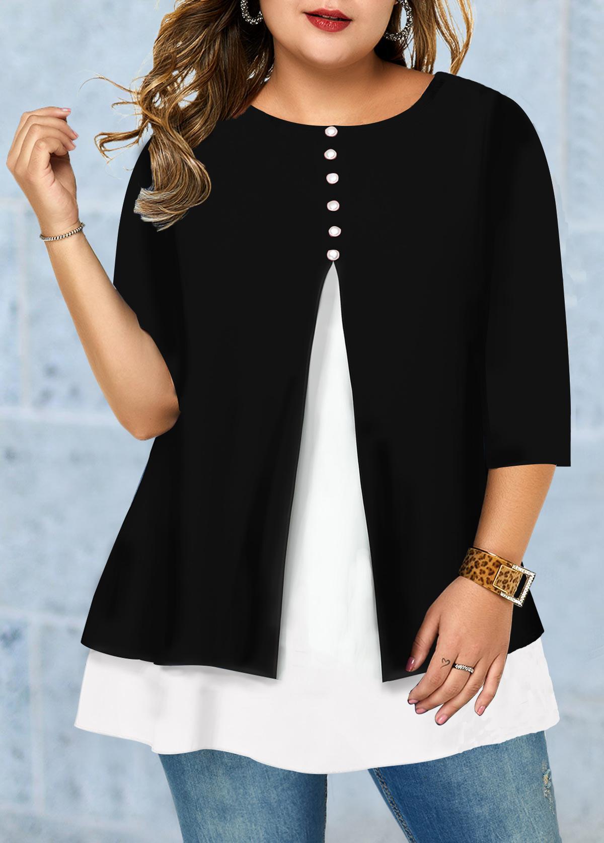 Front Slit Button Detail Plus Size T Shirt