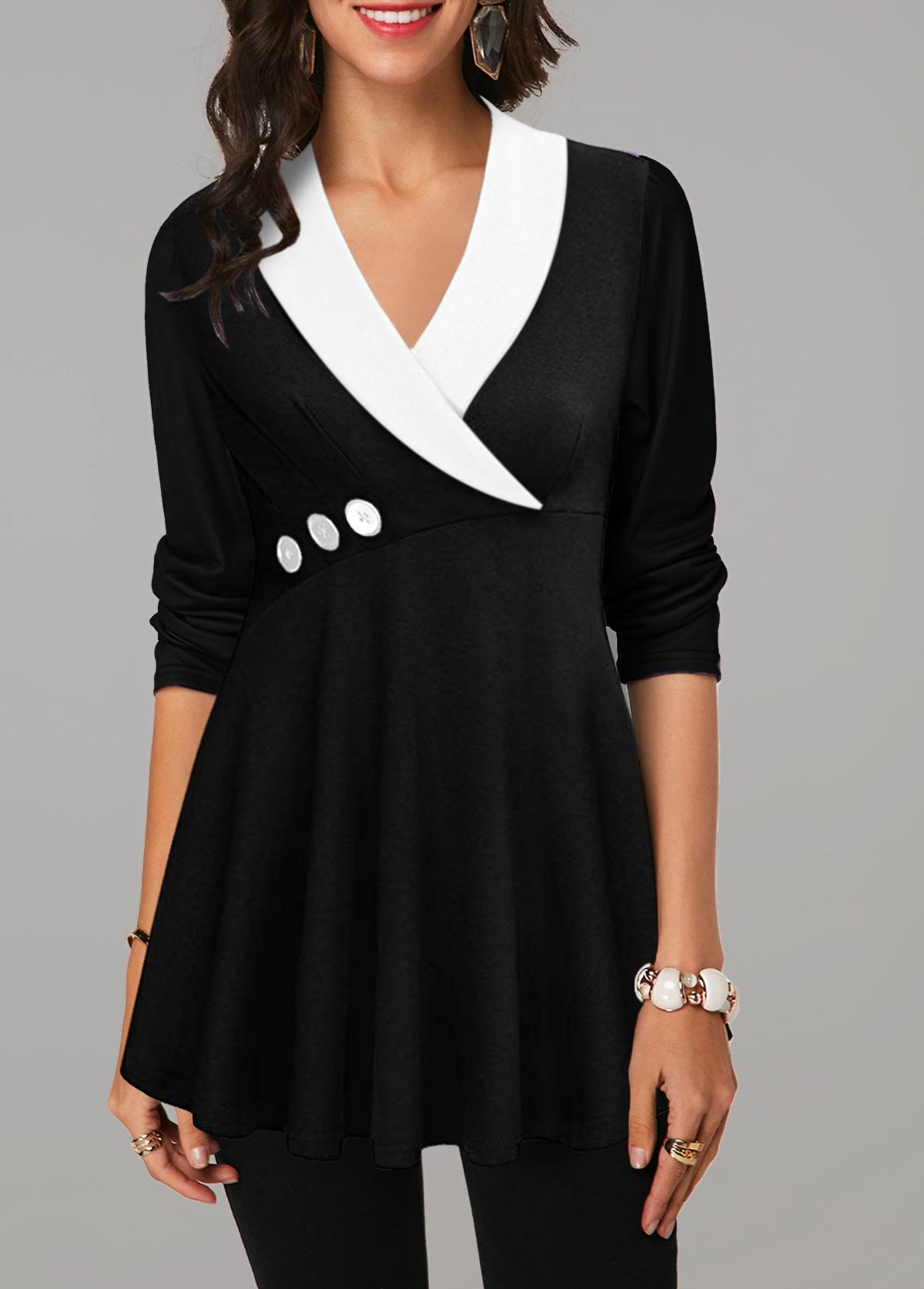 V Neck Button Detail Long Sleeve T Shirt